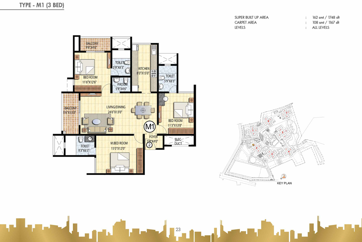 Type M1 - 3 Bed - 1748 Sq Ft