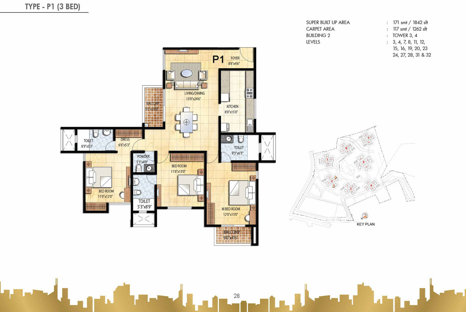 Type P1 - 3 Bed - 1842 Sq Ft