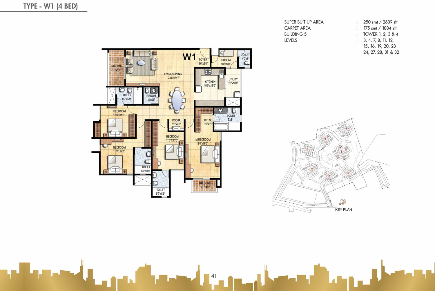 Type W1 - 4 Bed - 2689 Sq Ft