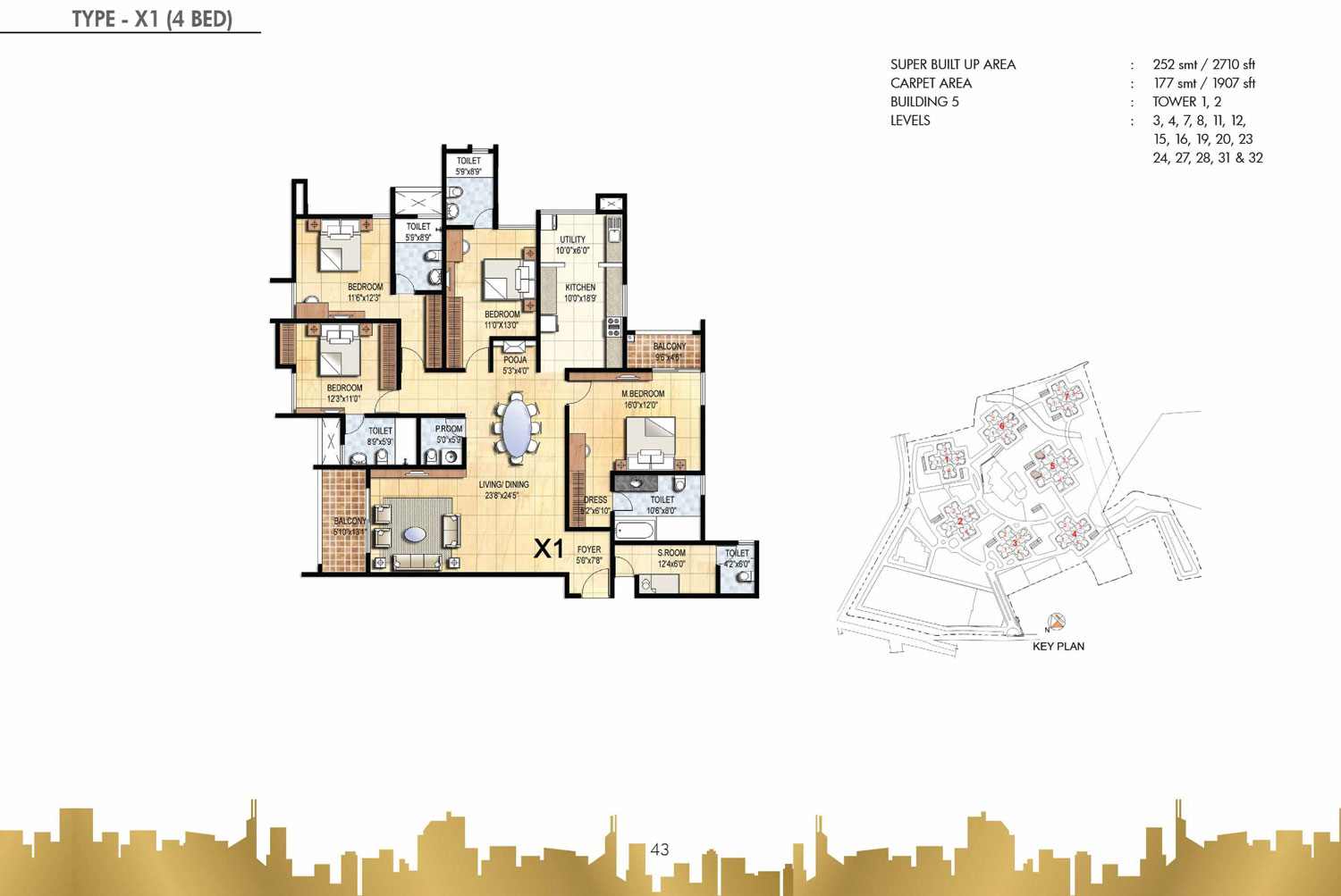 Type X1 - 4 Bed - 2710 Sq Ft