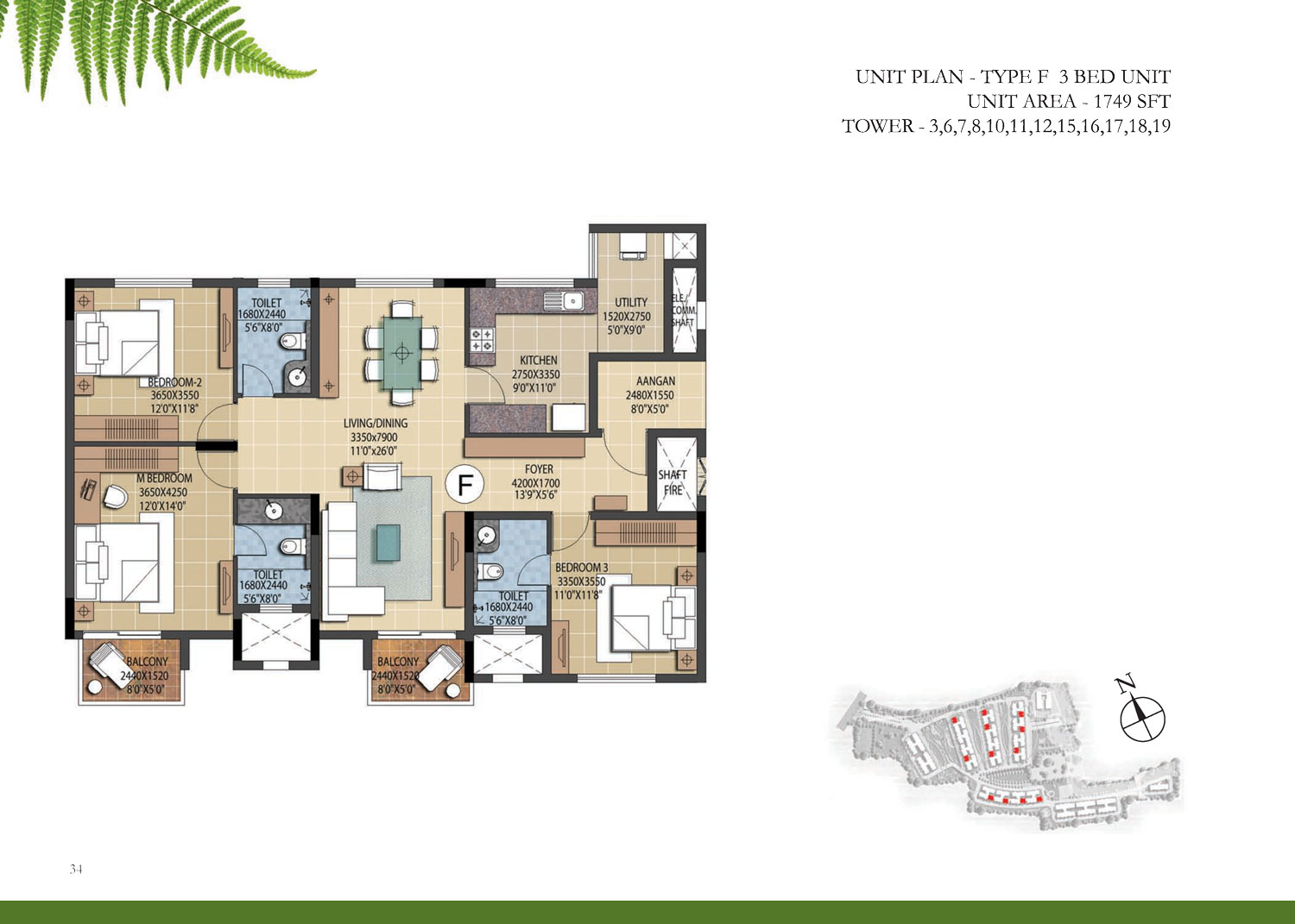Type F - 3 Bed Study - 1749 Sq Ft