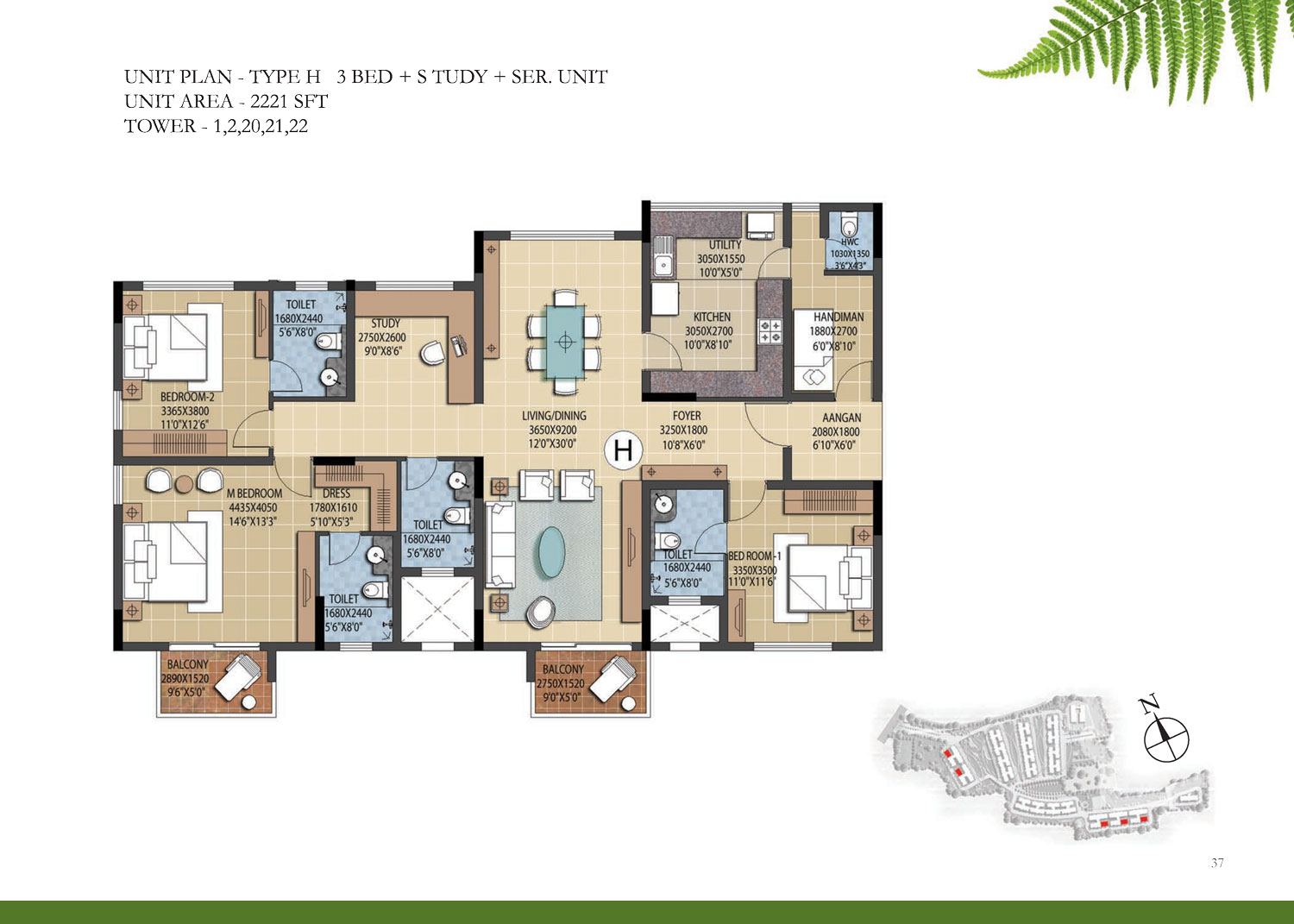 Type H - 3 Bed Study - 2221 Sq Ft