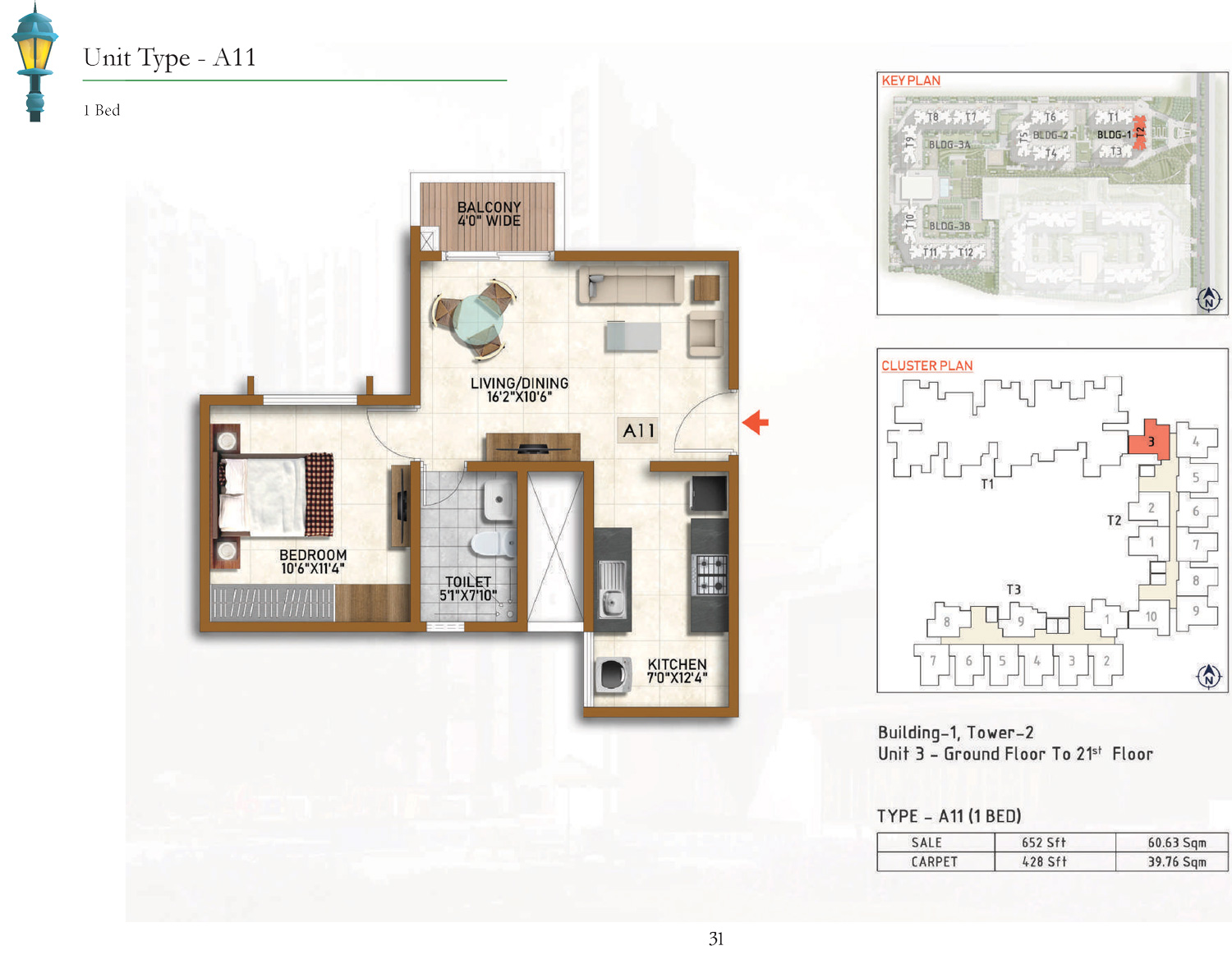 Type A11 - 652 Sq Ft
