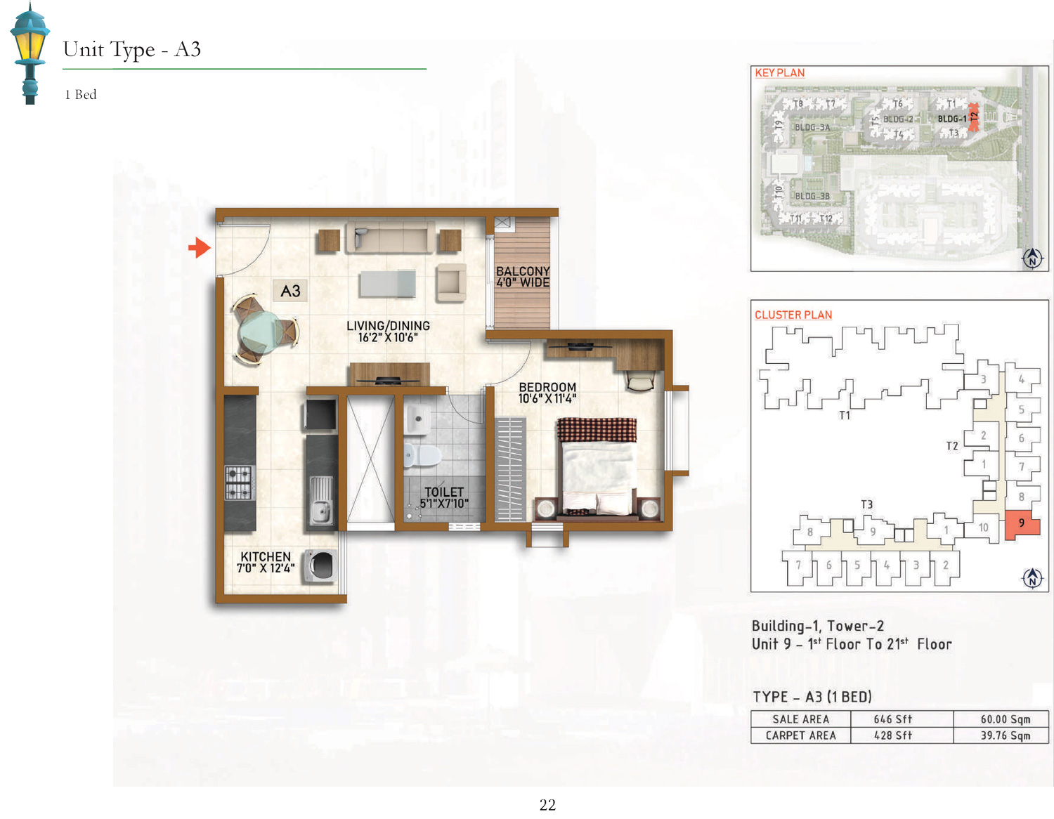 Type A3 - 646 Sq Ft