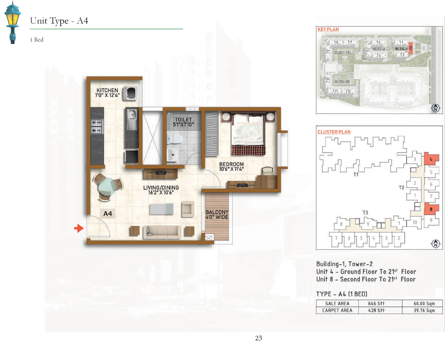 Type A4 - 646 Sq Ft