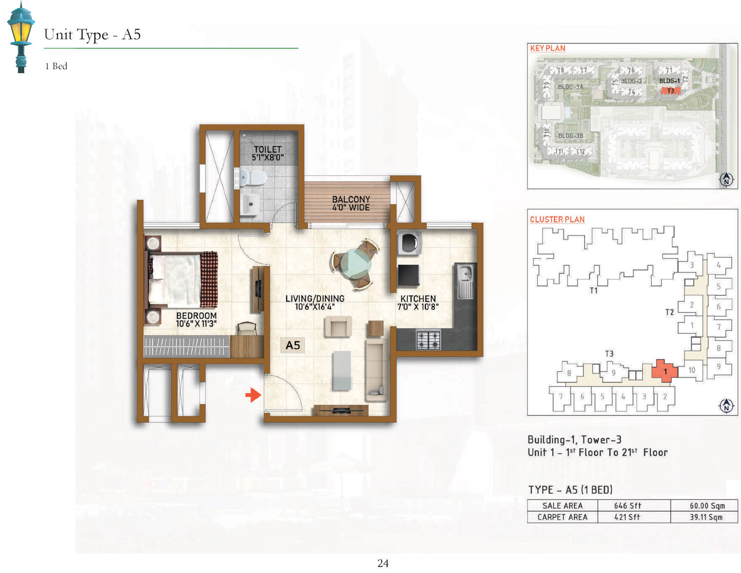 Type A5 - 646 Sq Ft