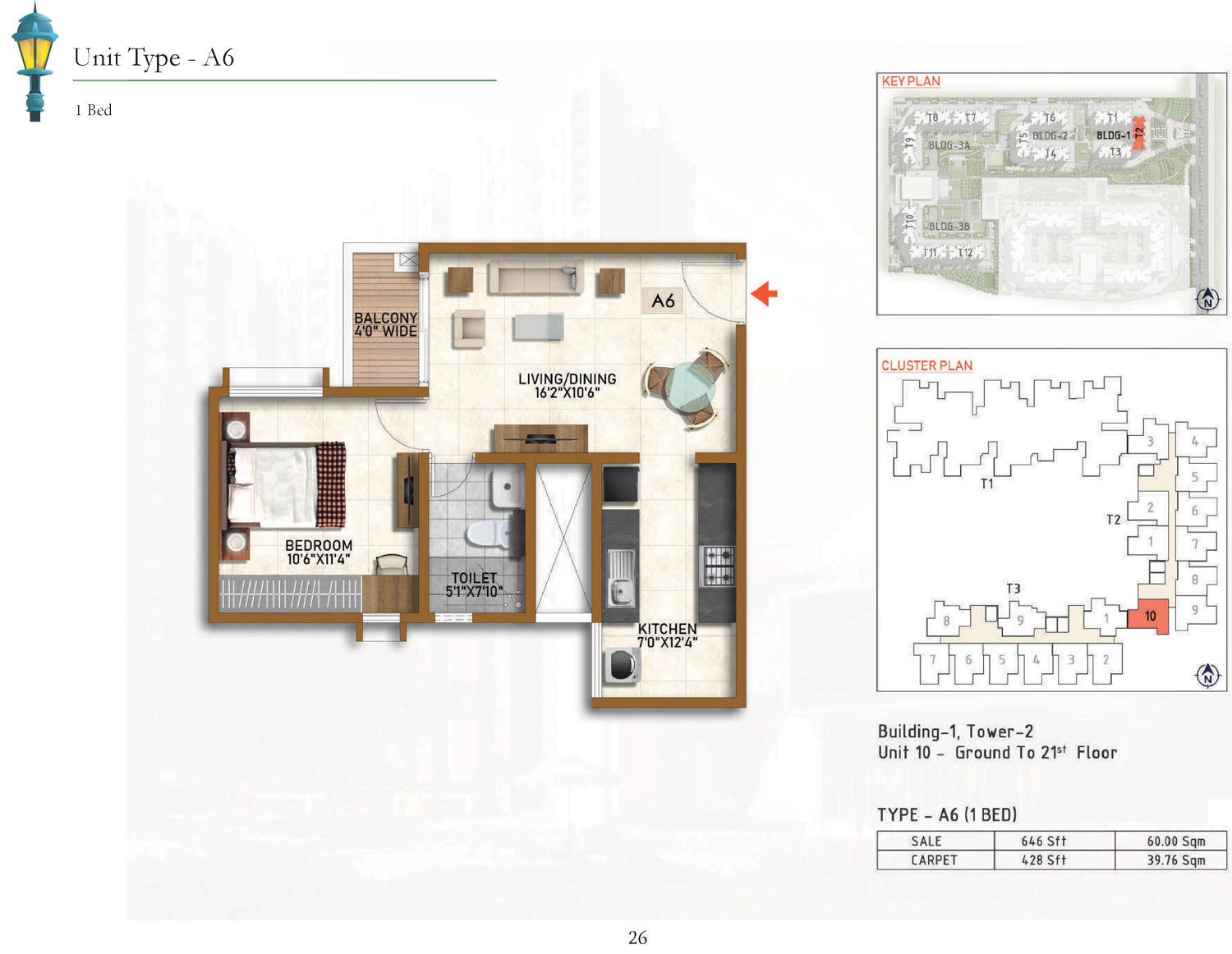 Type A6 - 646 Sq Ft