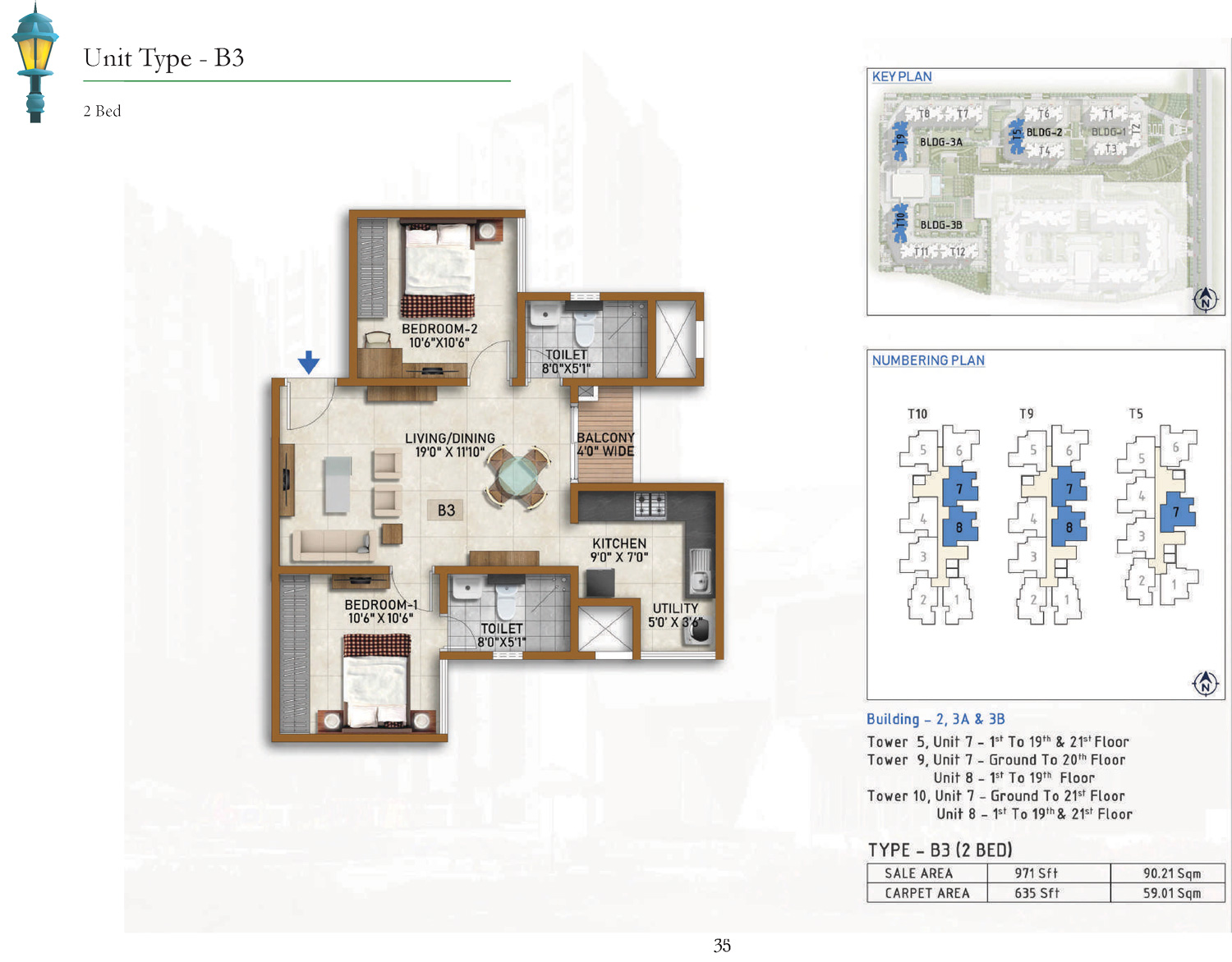 Type B3 - 971 Sq Ft