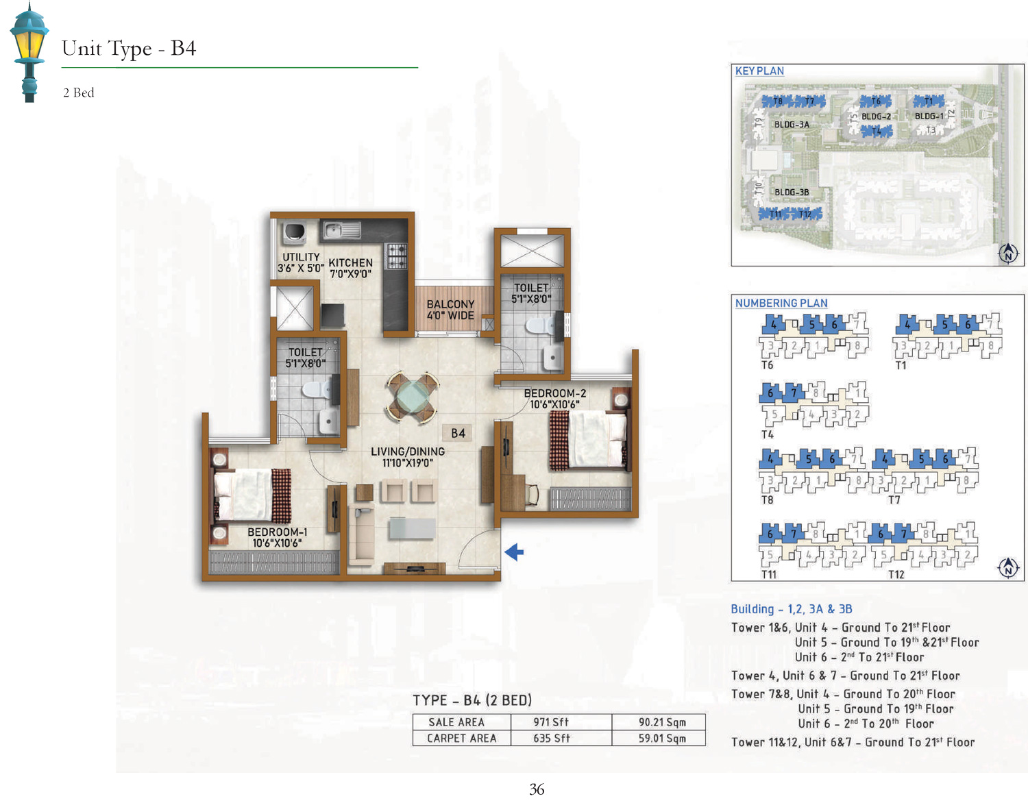 Type B4 - 971 Sq Ft