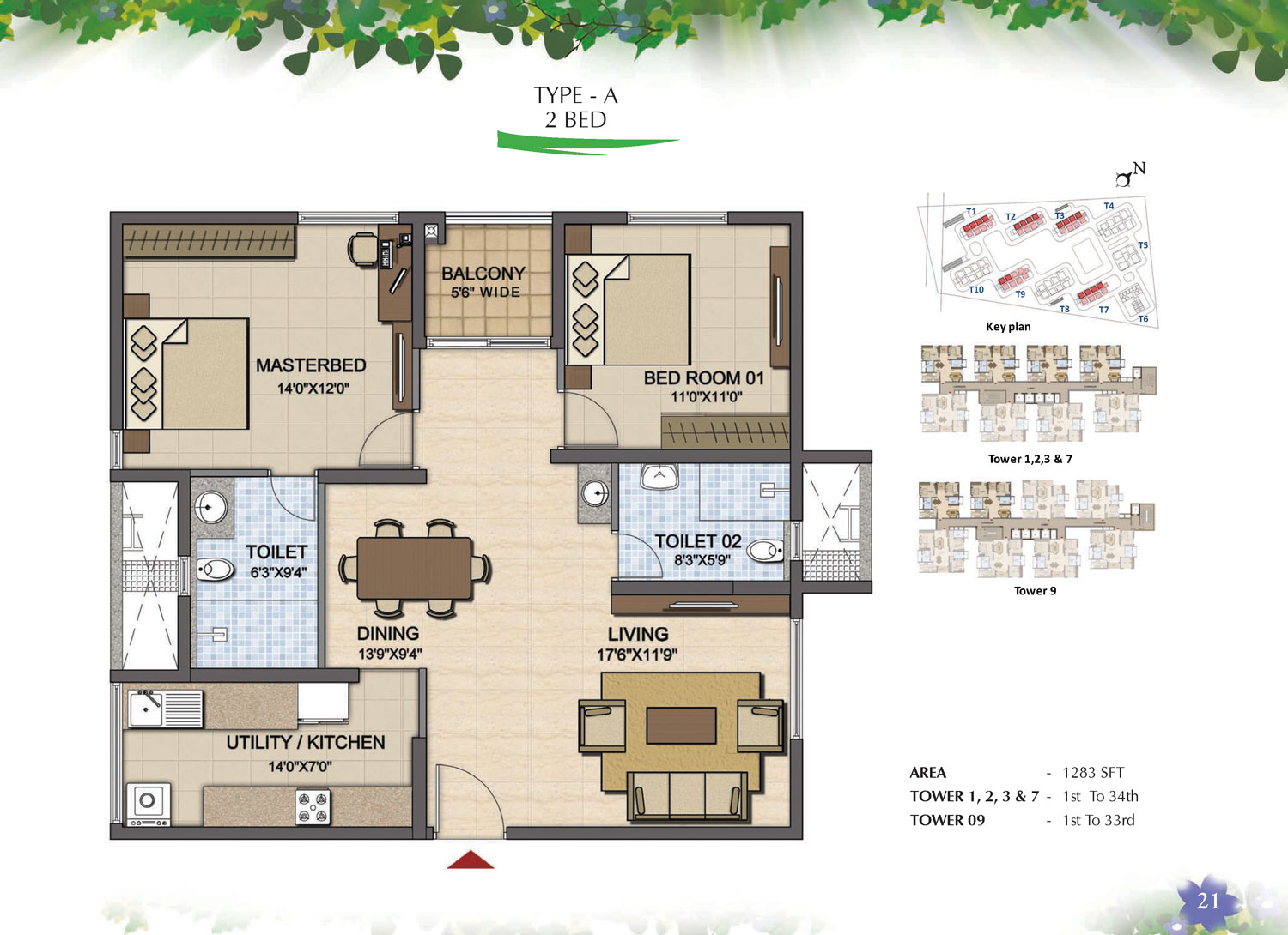 Type A - 2 Bed - 1283 Sq Ft