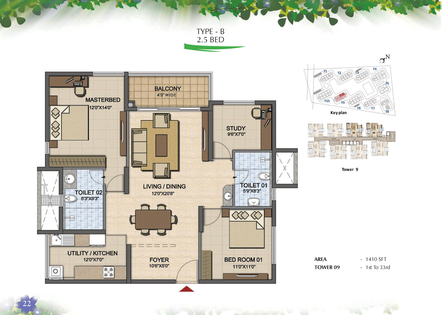 Type B - 2.5 Bed - 1410 Sq Ft
