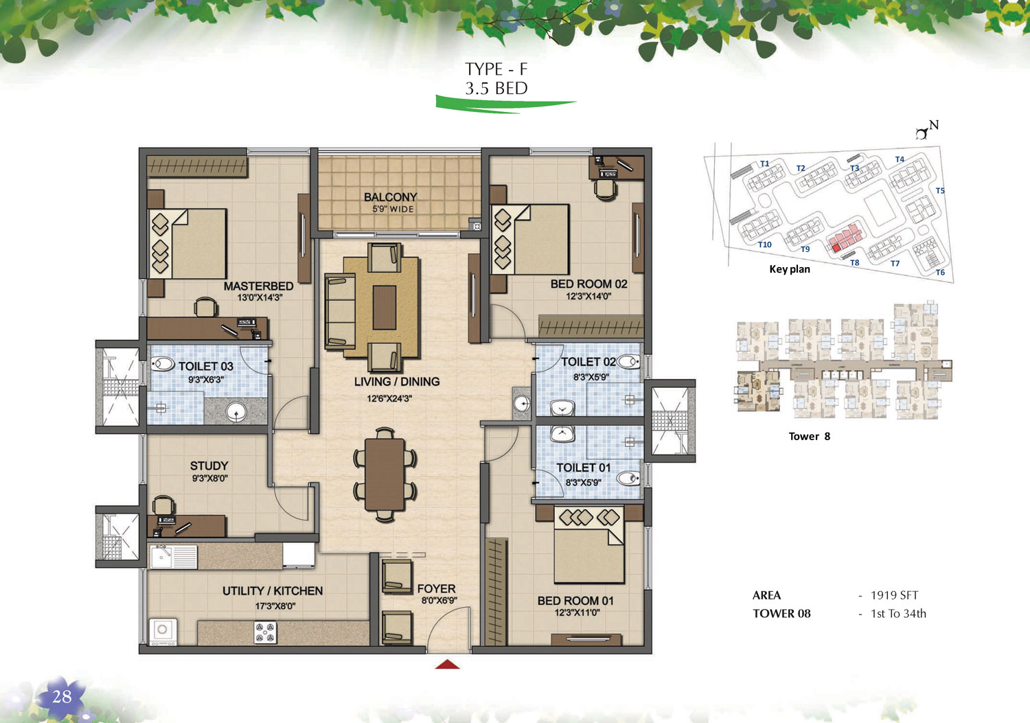 Type F - 3.5 Bed - 1919 Sq Ft