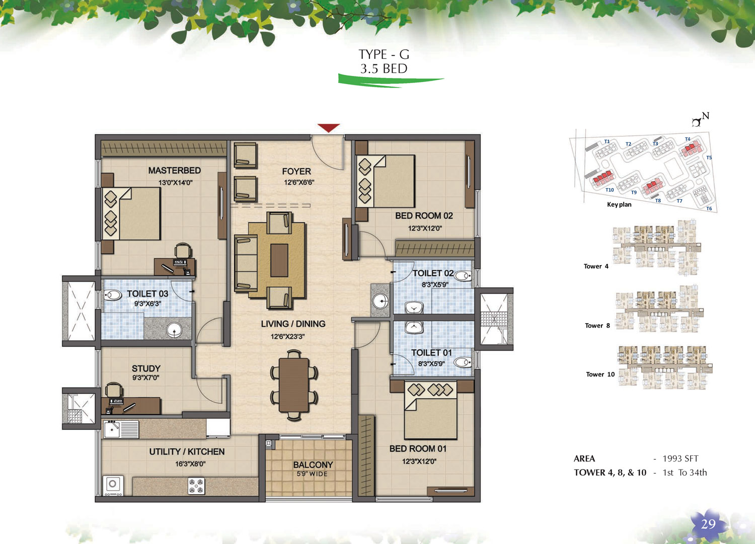 Type G - 3.5 Bed - 1993 Sq Ft