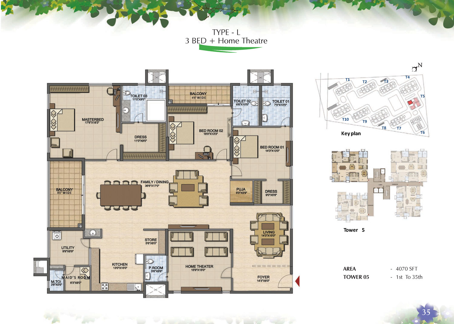 Type L - 3 Bed - 4070 Sq Ft