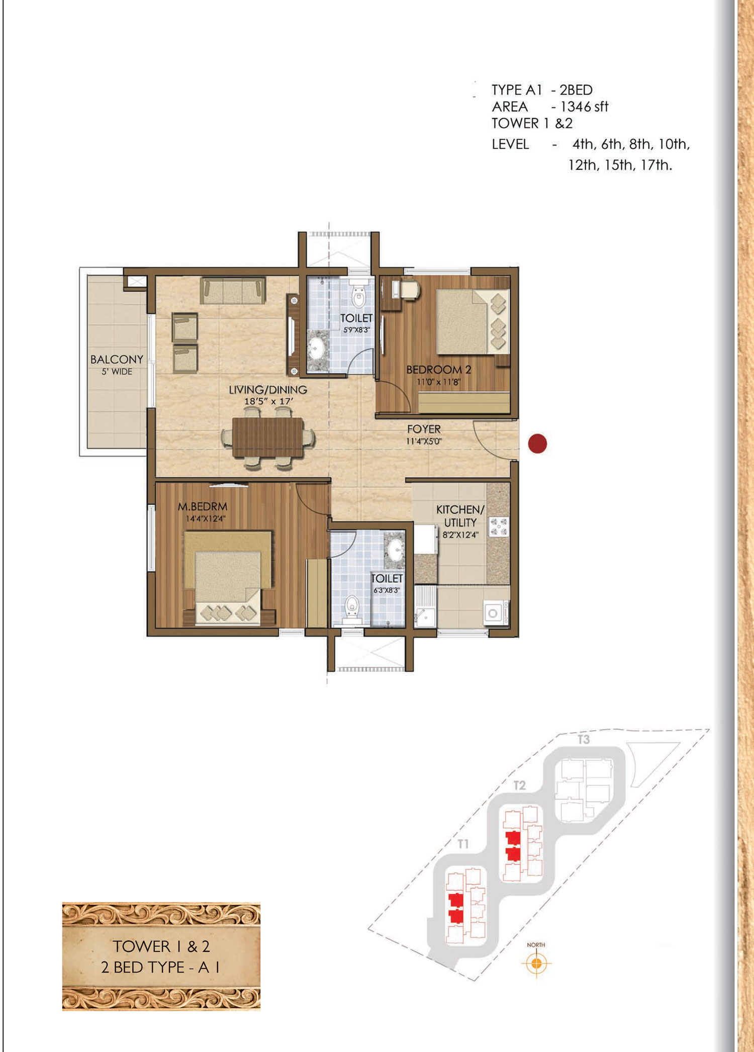 Type A1 - 2 Bed - 1346 Sq Ft
