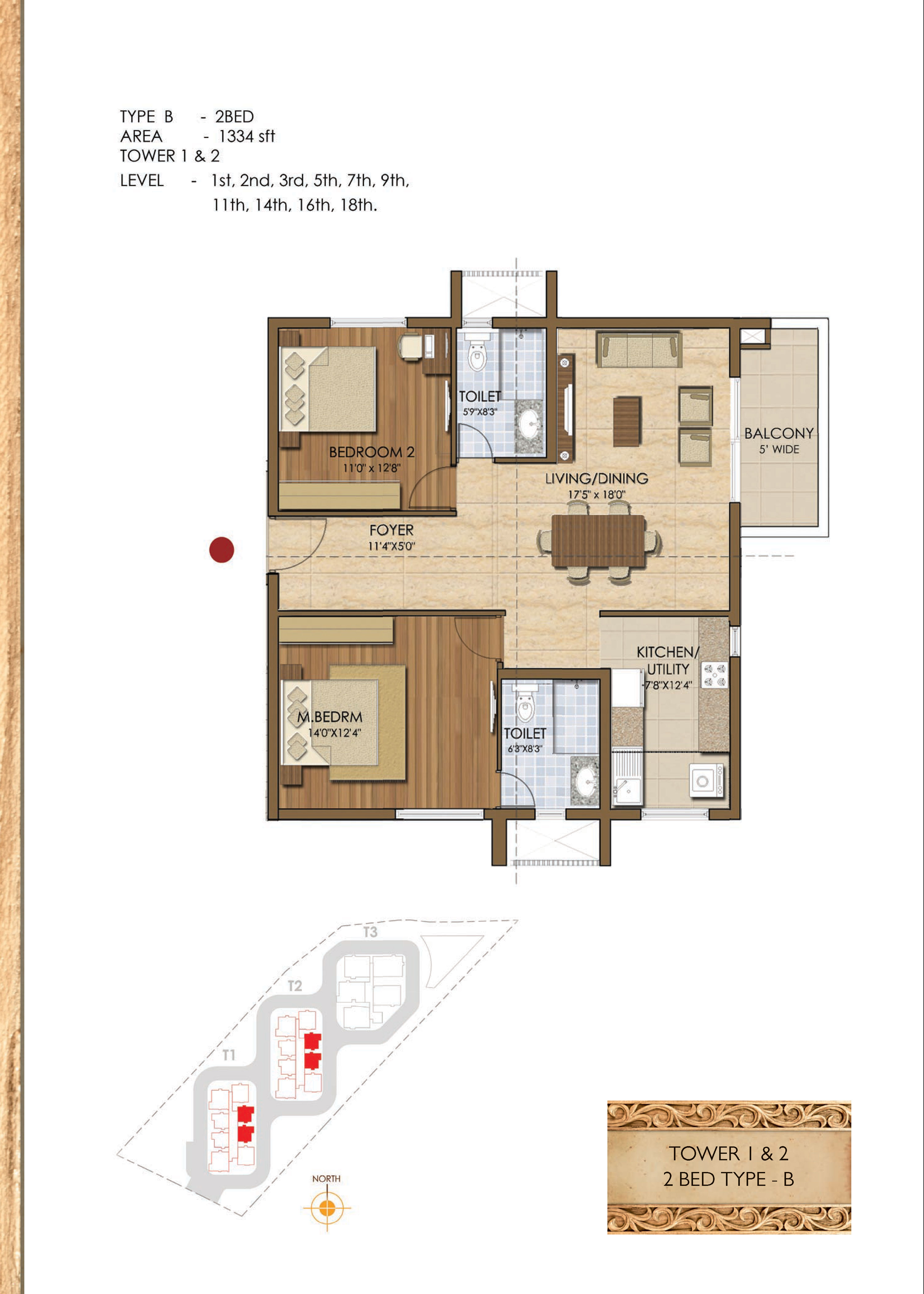 Type B - 2 Bed - 1334 Sq Ft