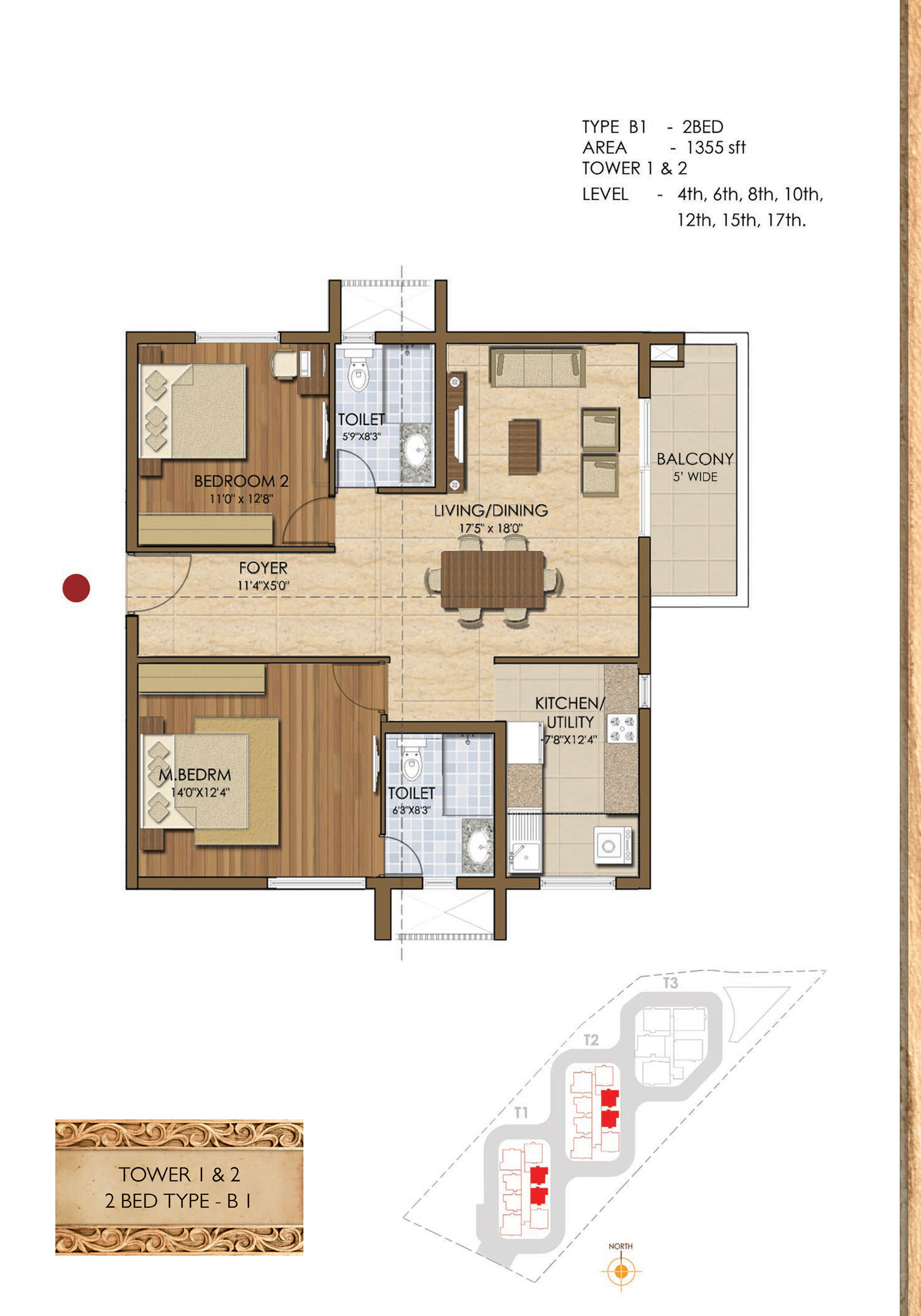 Type B1- 2 Bed - 1355 Sq Ft
