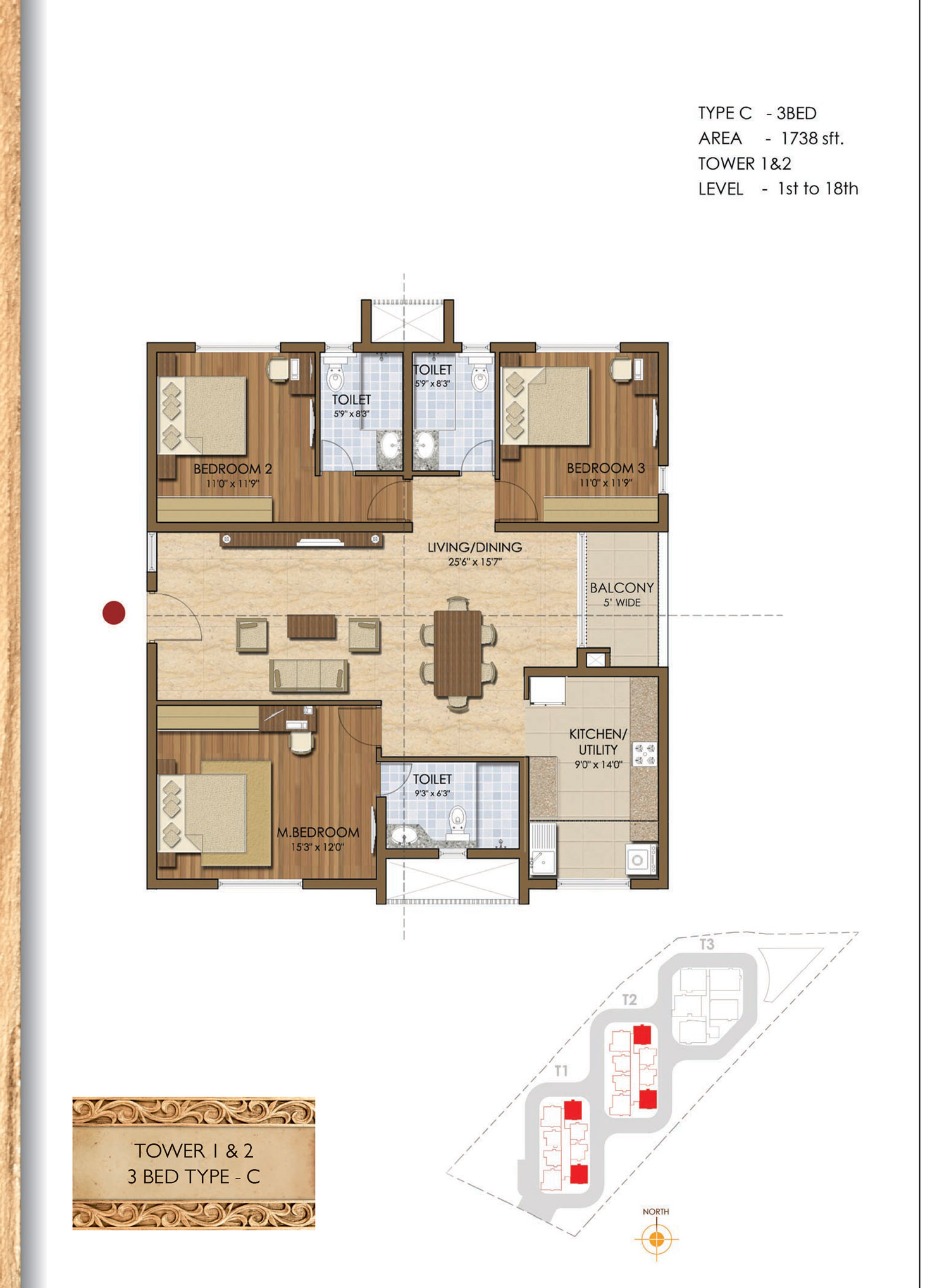 Type C - 2 Bed - 1738 Sq Ft