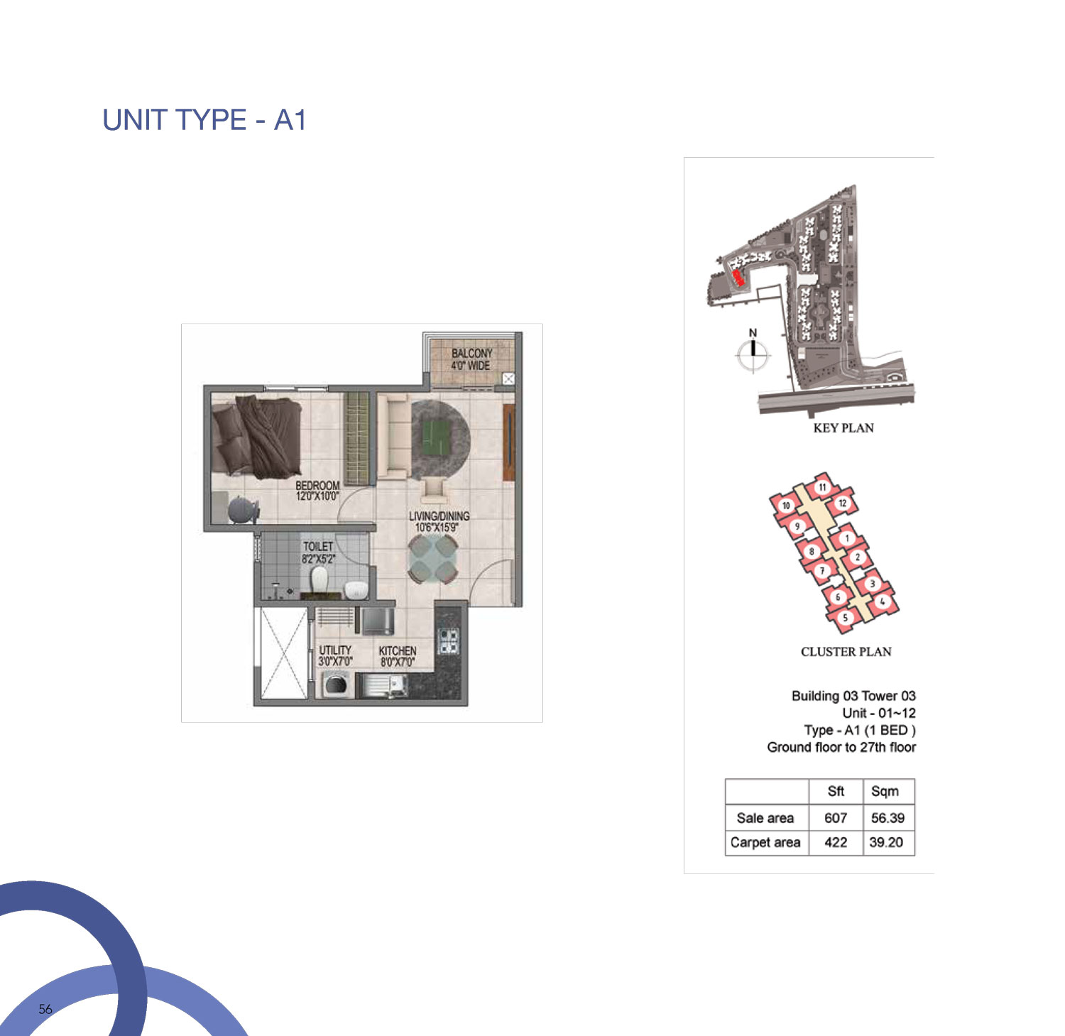 Type A1 - 607 Sq Ft