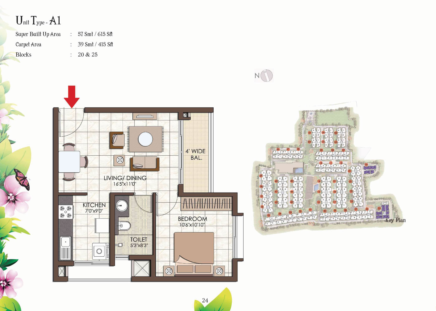 Type A1 - 615 Sq Ft