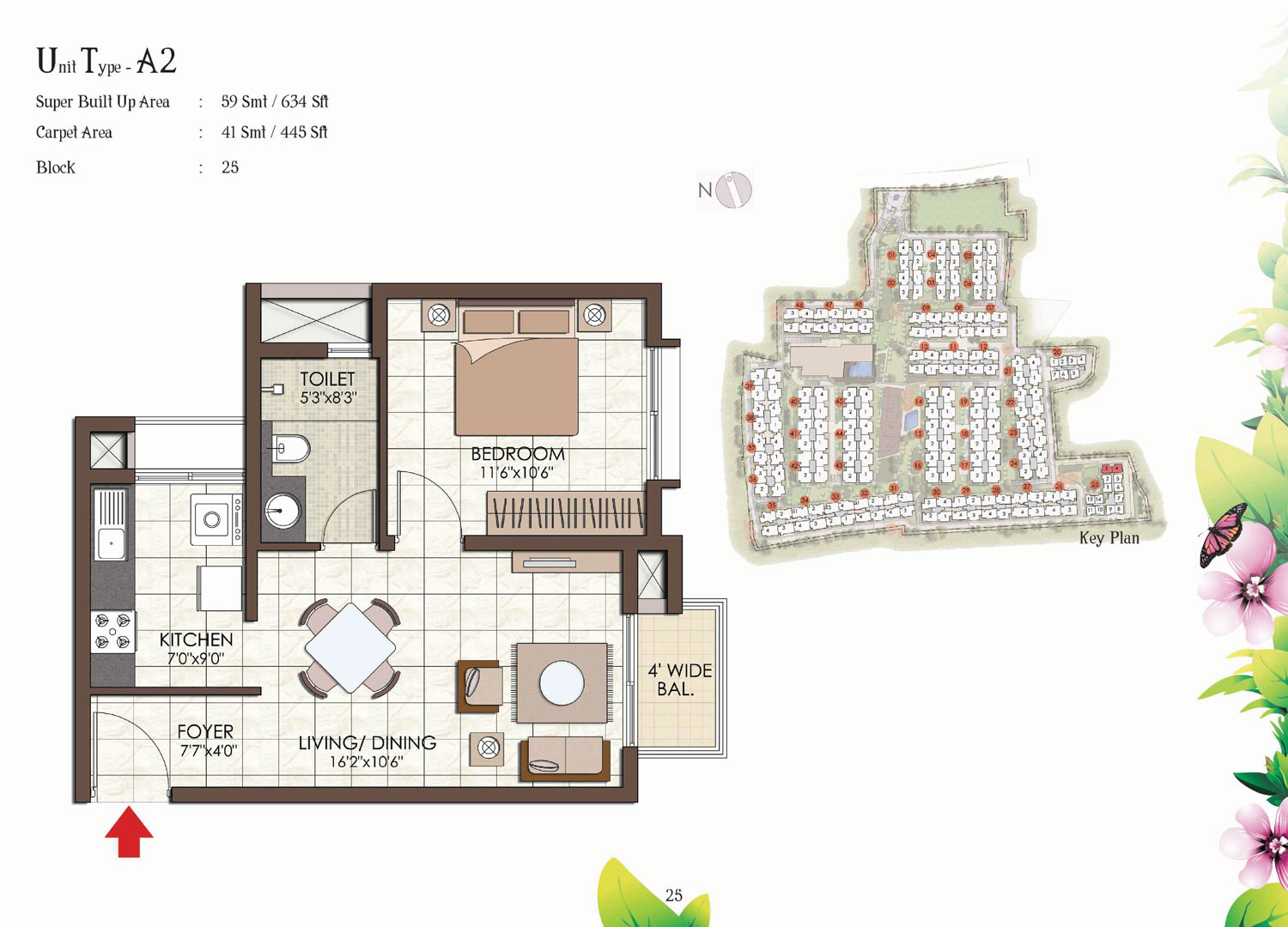 Type A2 - 634 Sq Ft