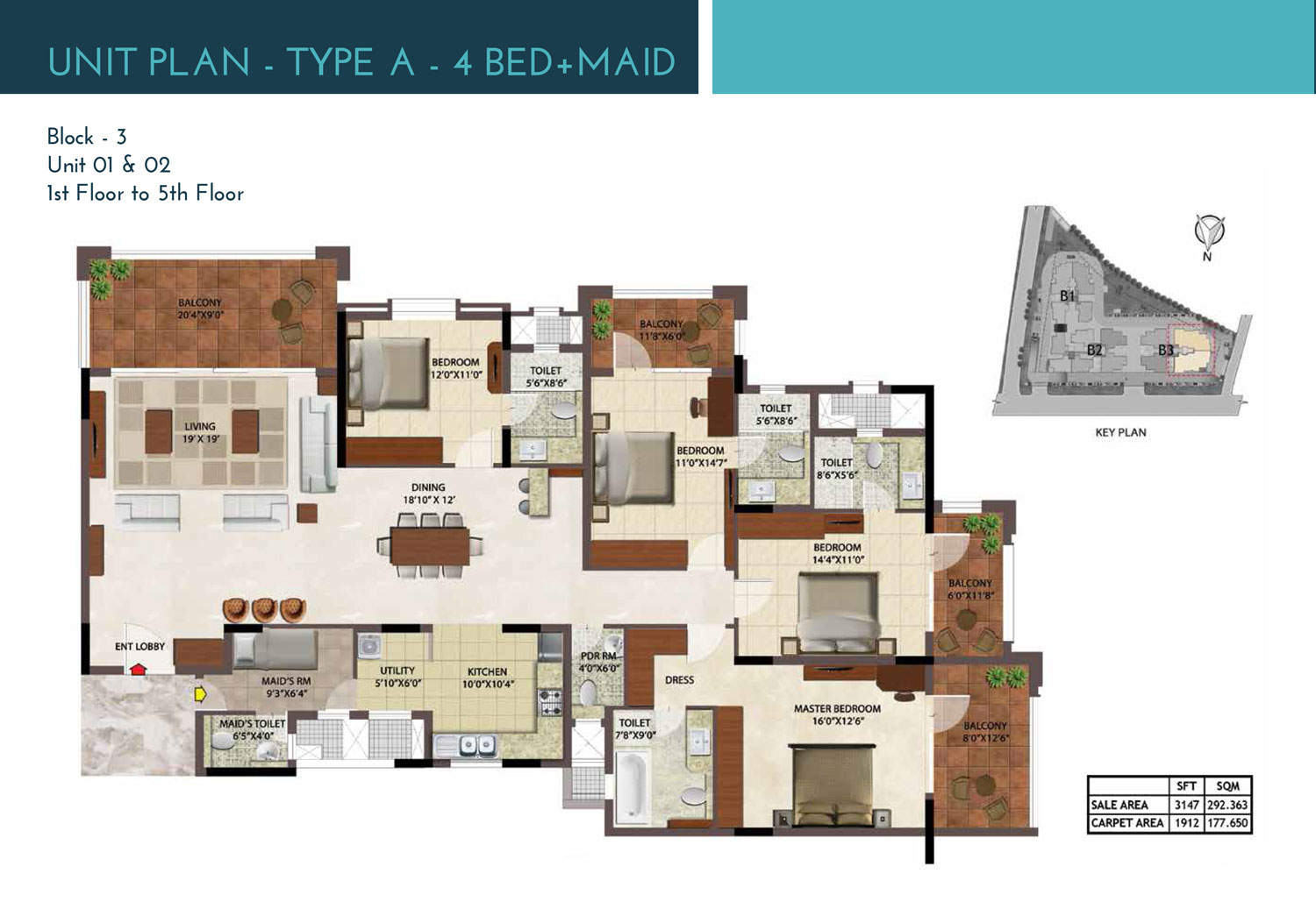 Type A - 4 Bed + Maid