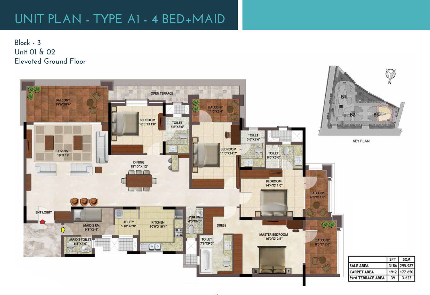 Type A1 - 3186 Sq Ft