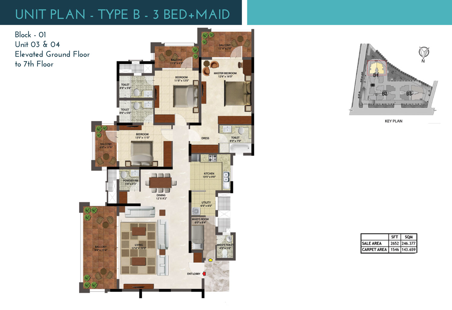 Type A2 - 3 Bed + Maid
