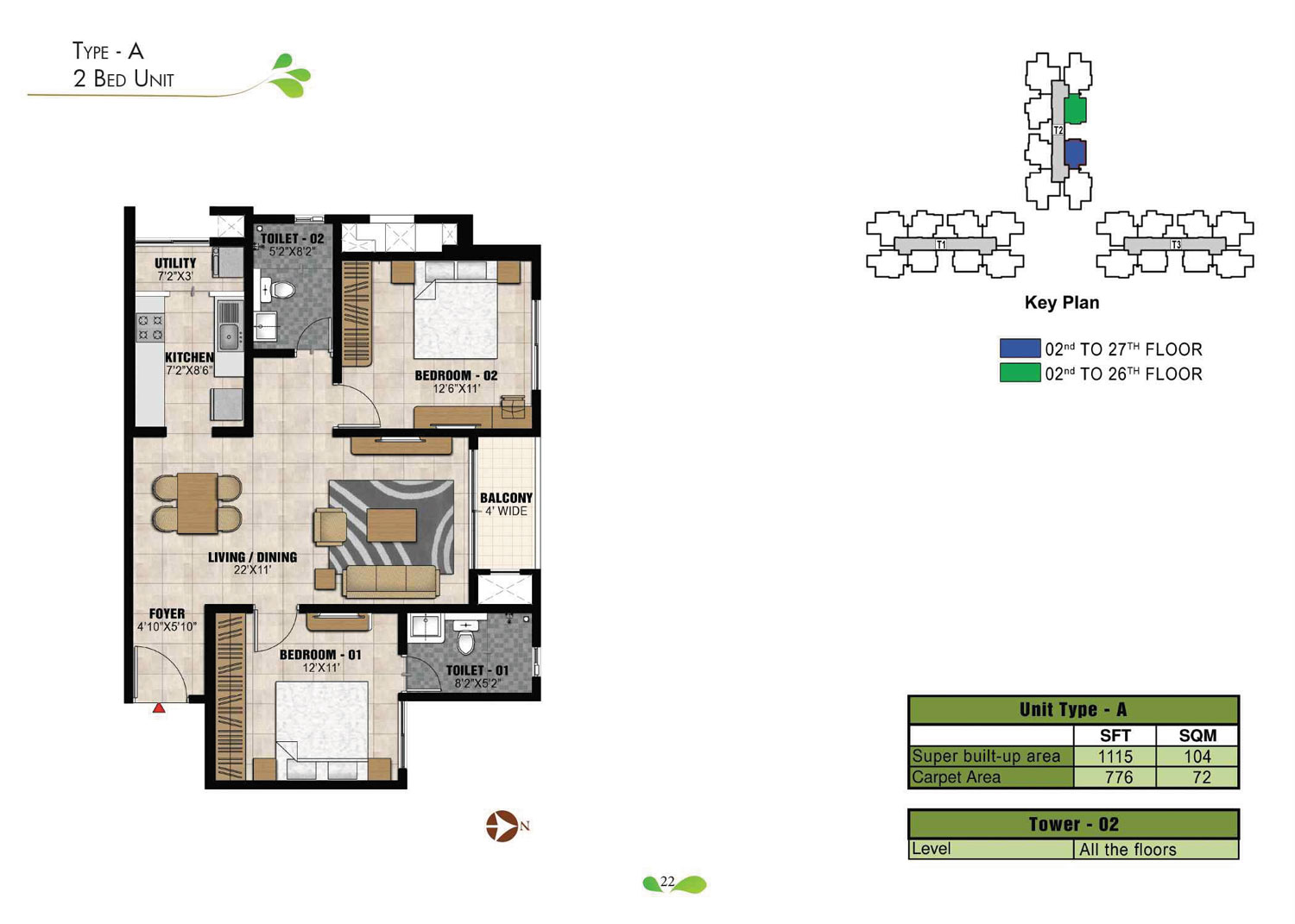 Type A - 1115 Sq Ft