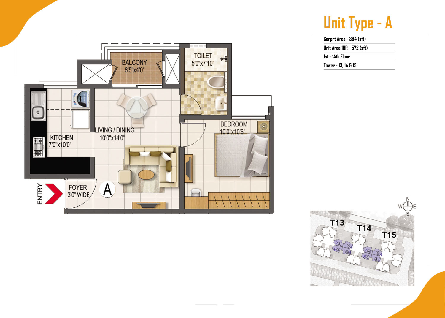 Type A - 1 Bed - 572 Sq Ft
