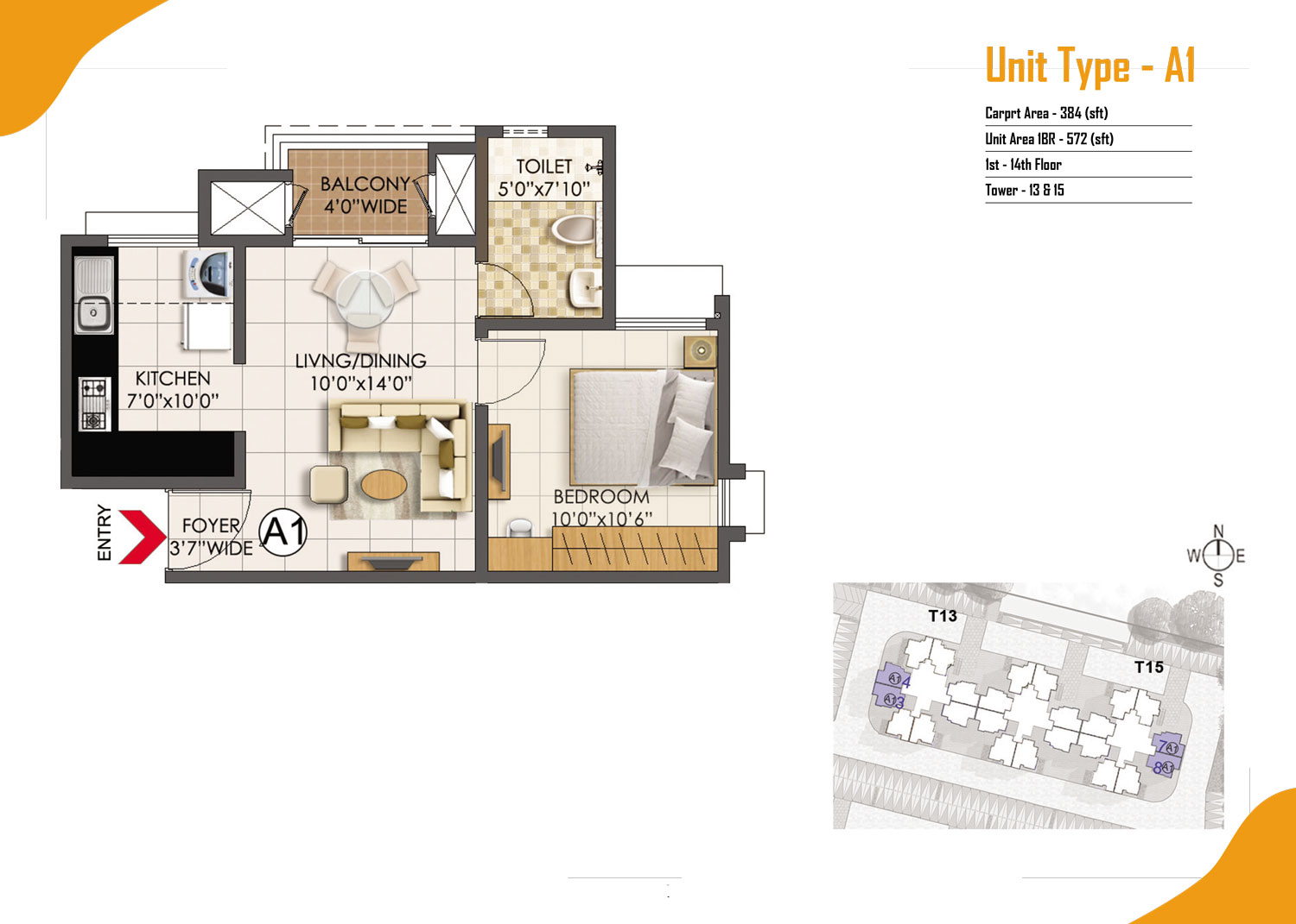Type A1 - 1 Bed - 572 Sq Ft