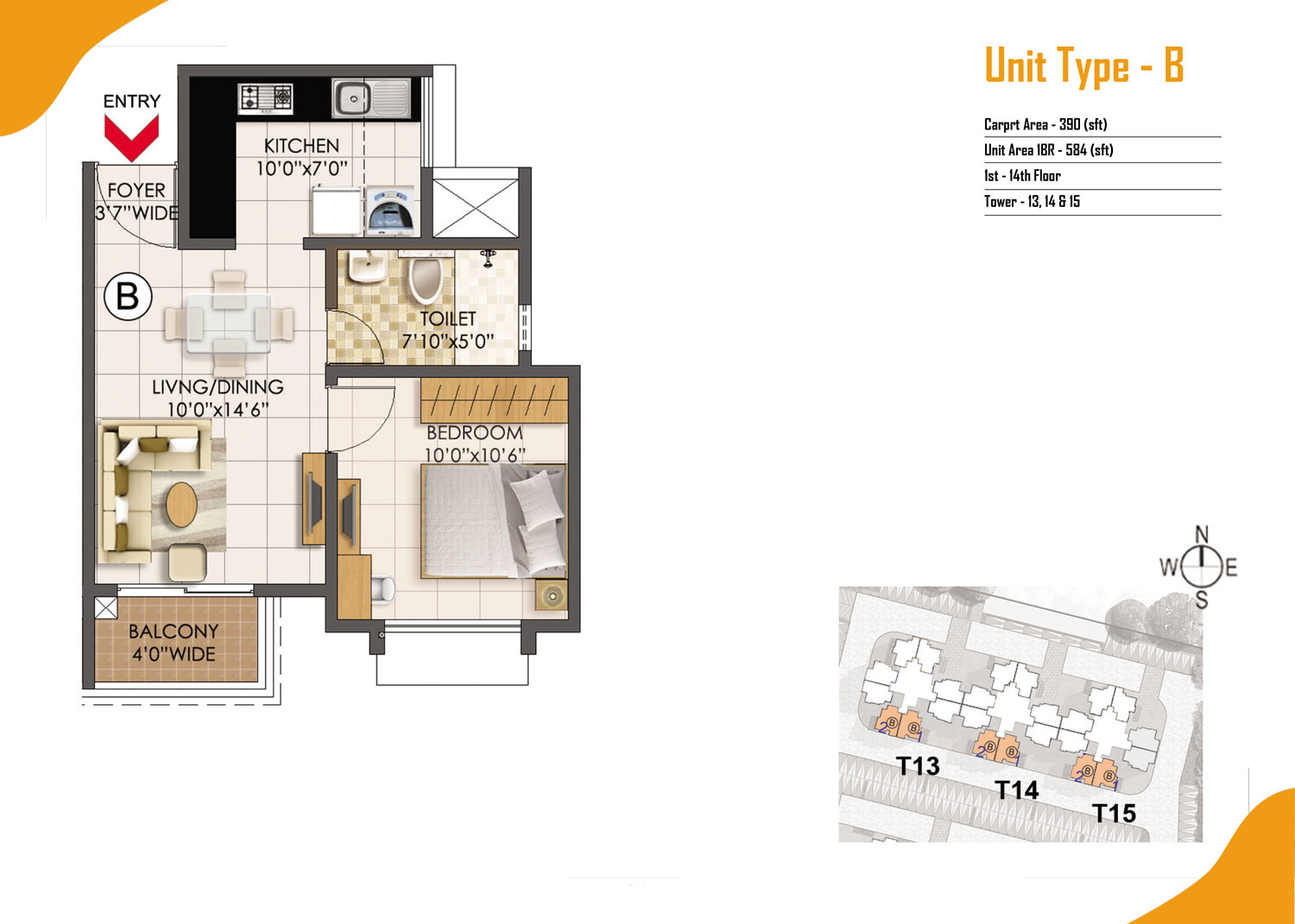 Type B - 1 Bed - 580 Sq Ft
