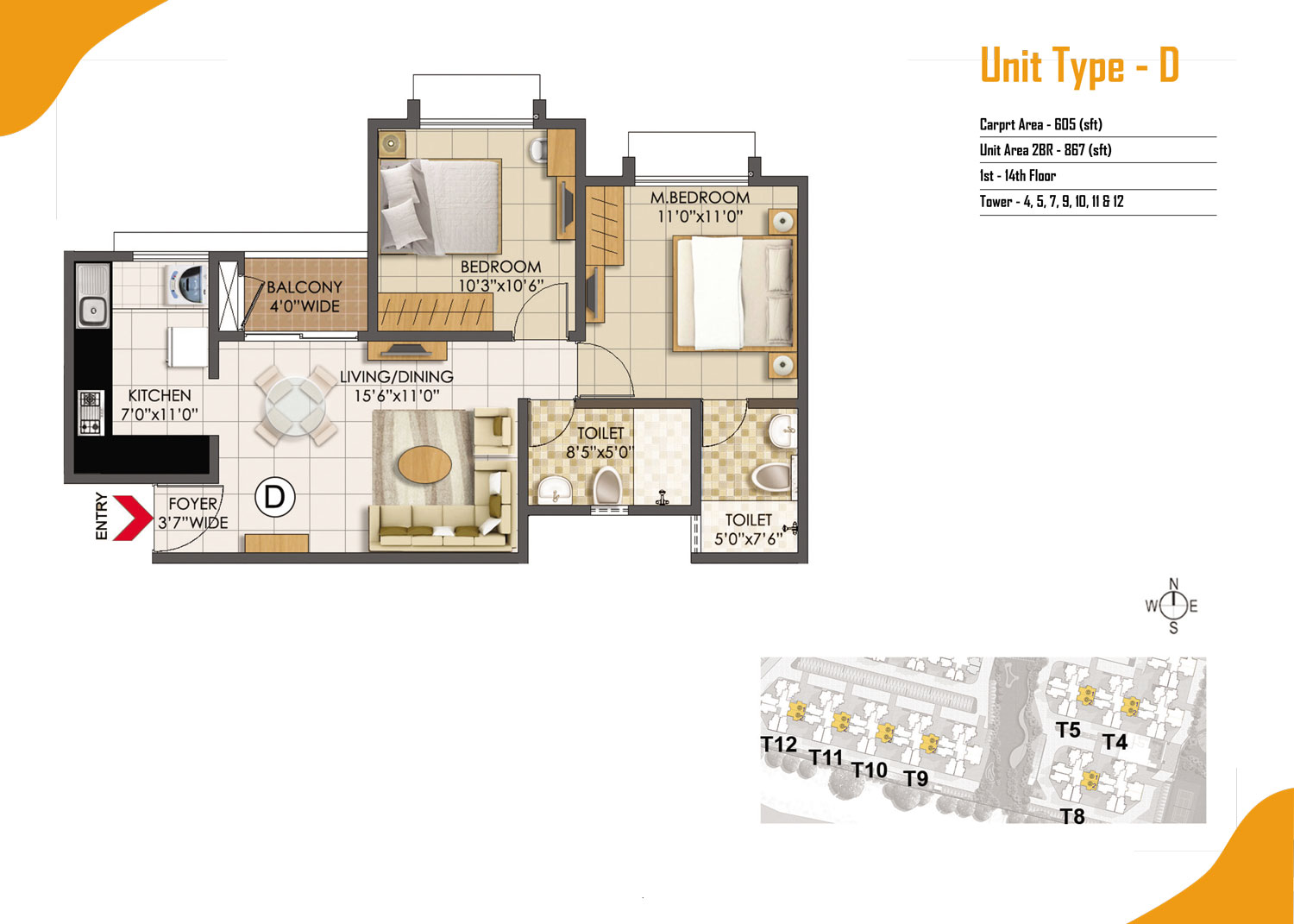 Type D - 2 Bed - 867 Sq Ft