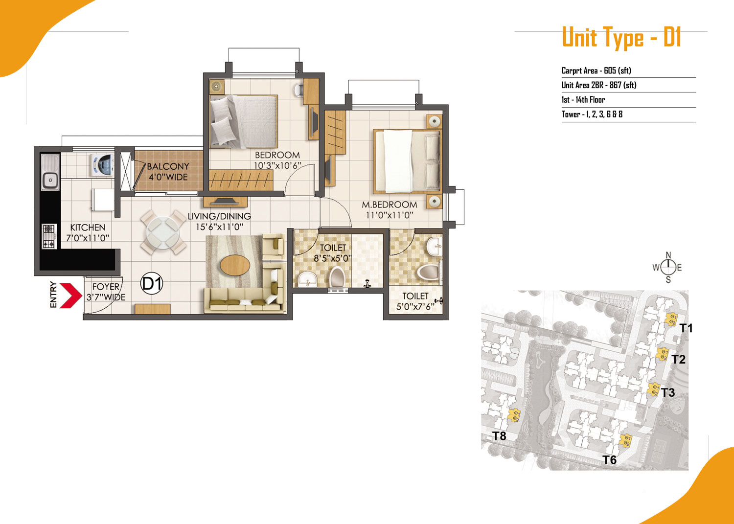 Type D1 - 2 Bed - 867 Sq Ft