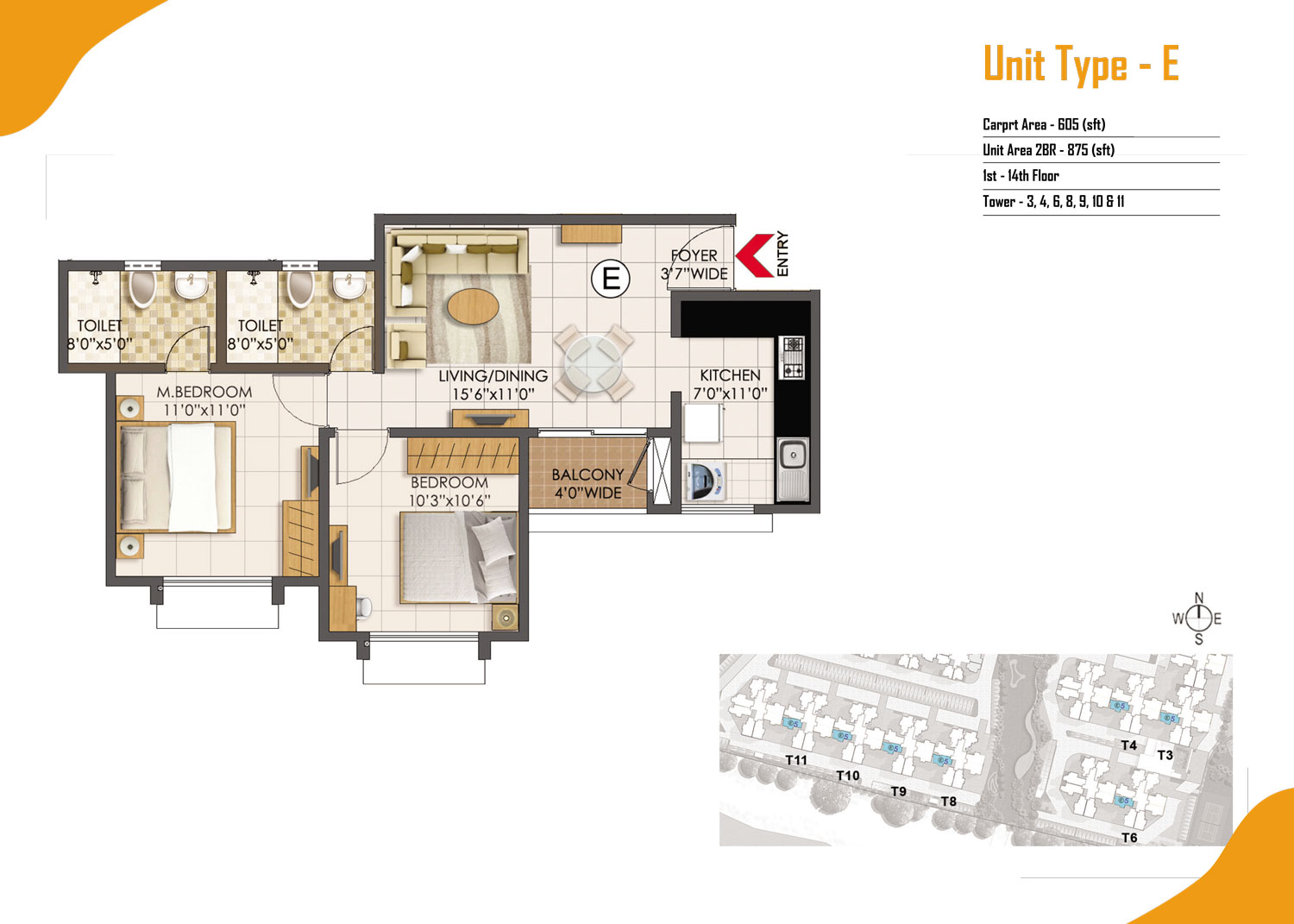 Type E - 2 Bed - 875 Sq Ft