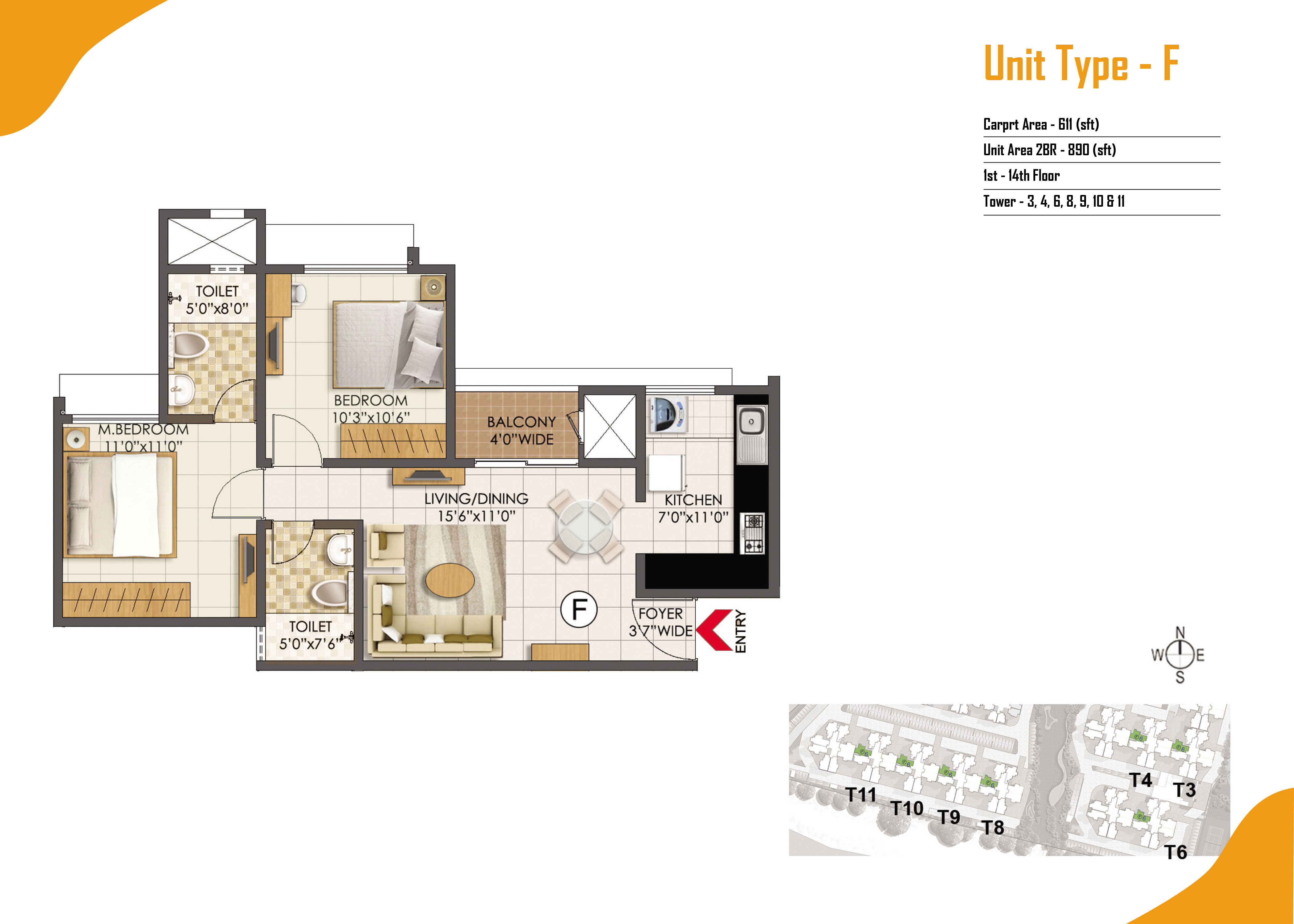 Type F - 2 Bed - 890 Sq Ft