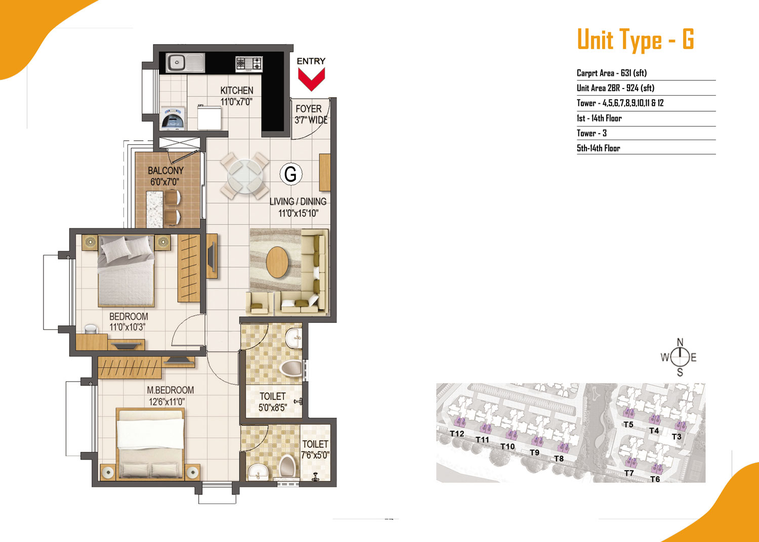 Type G - 2 Bed - 924 Sq Ft