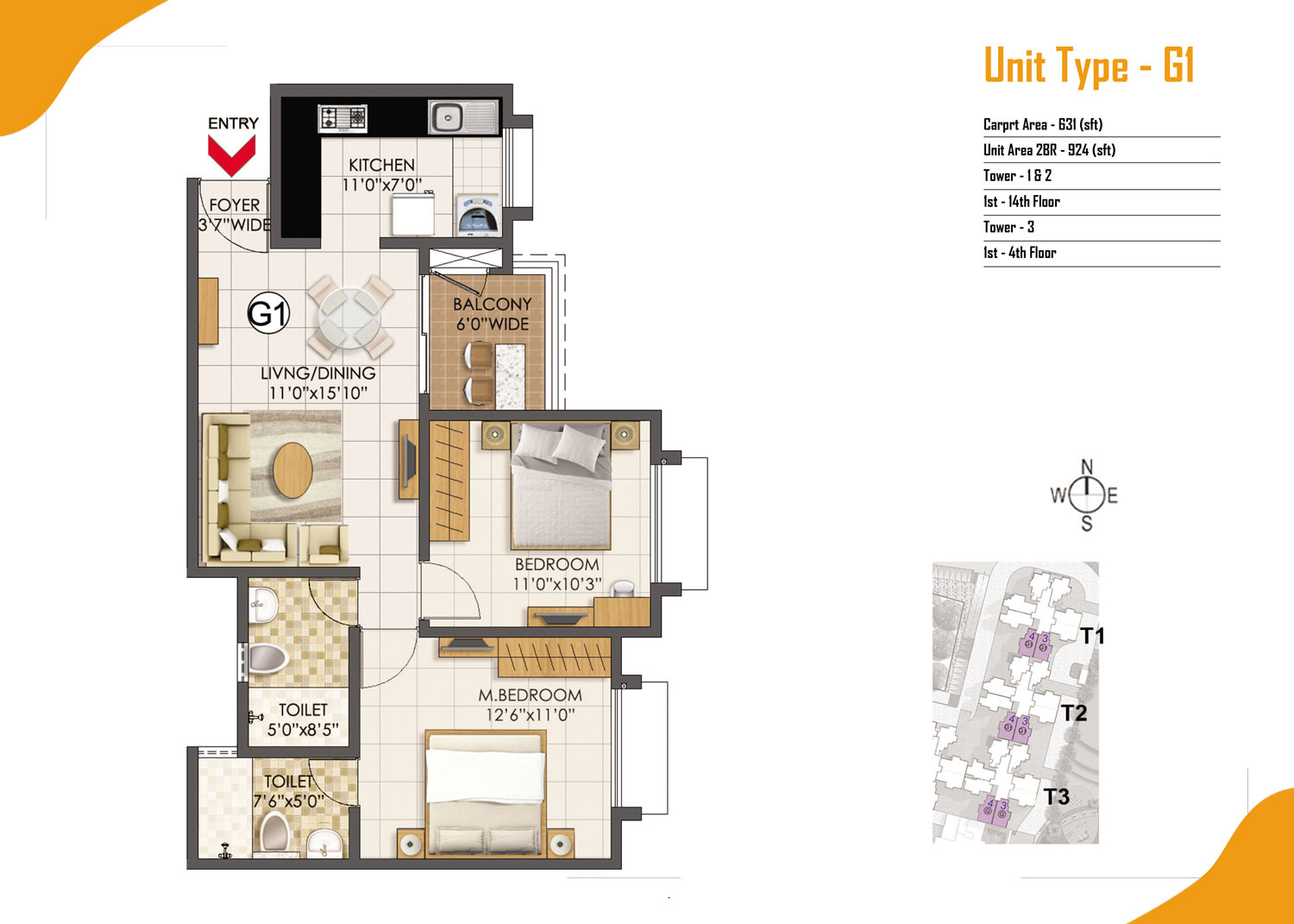 Type G1 - 2 Bed - 924 Sq Ft