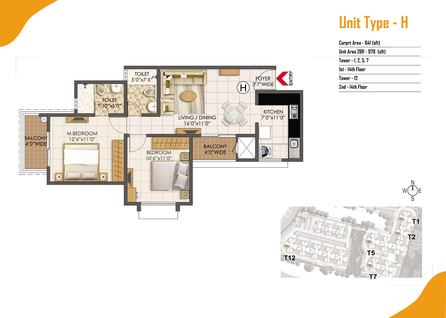 Type H - 2 Bed - 978 Sq Ft