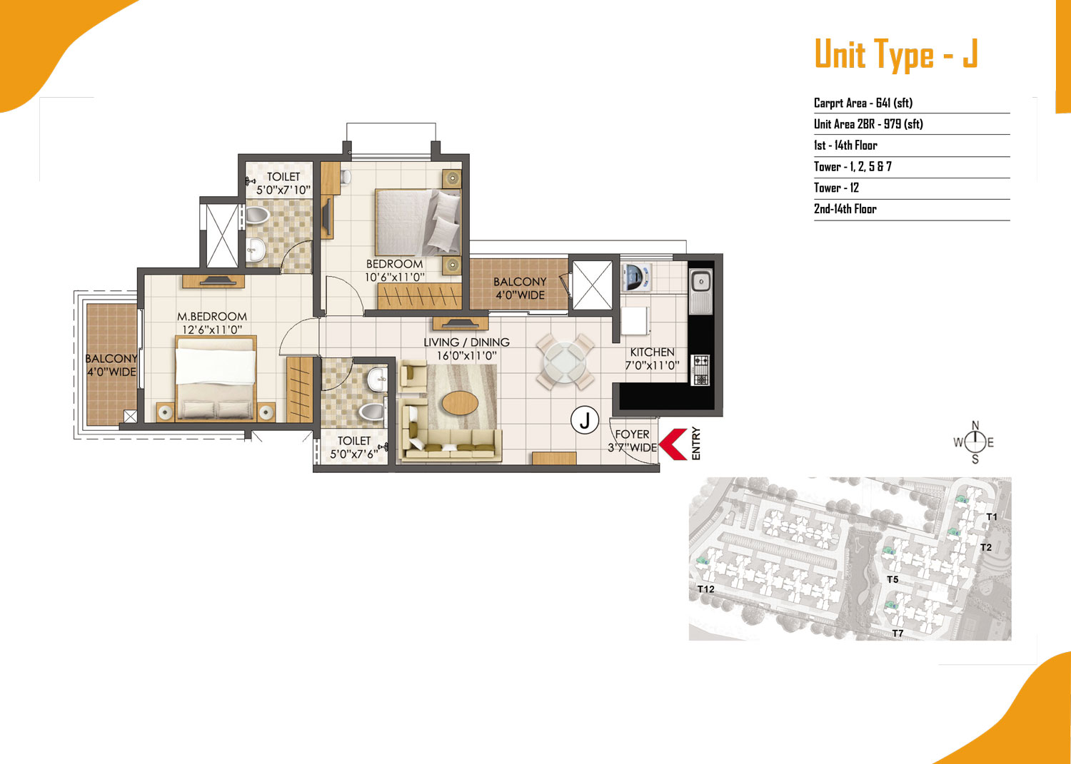 Type J - 2 Bed - 979 Sq Ft