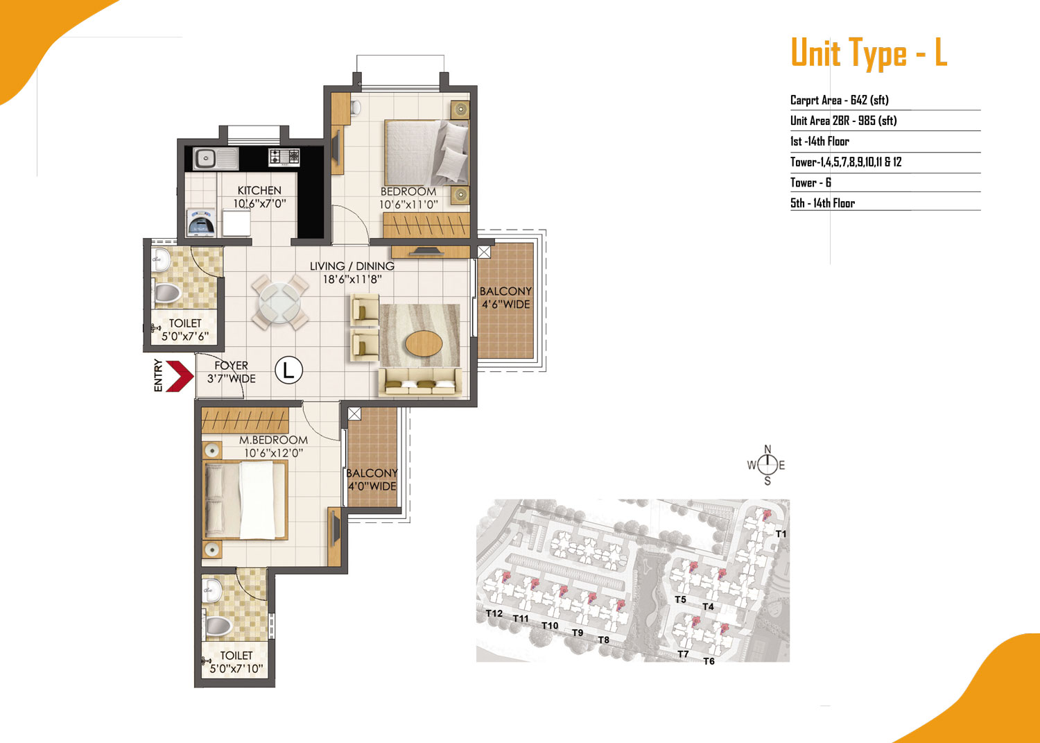 Type L - 2 Bed - 985 Sq Ft