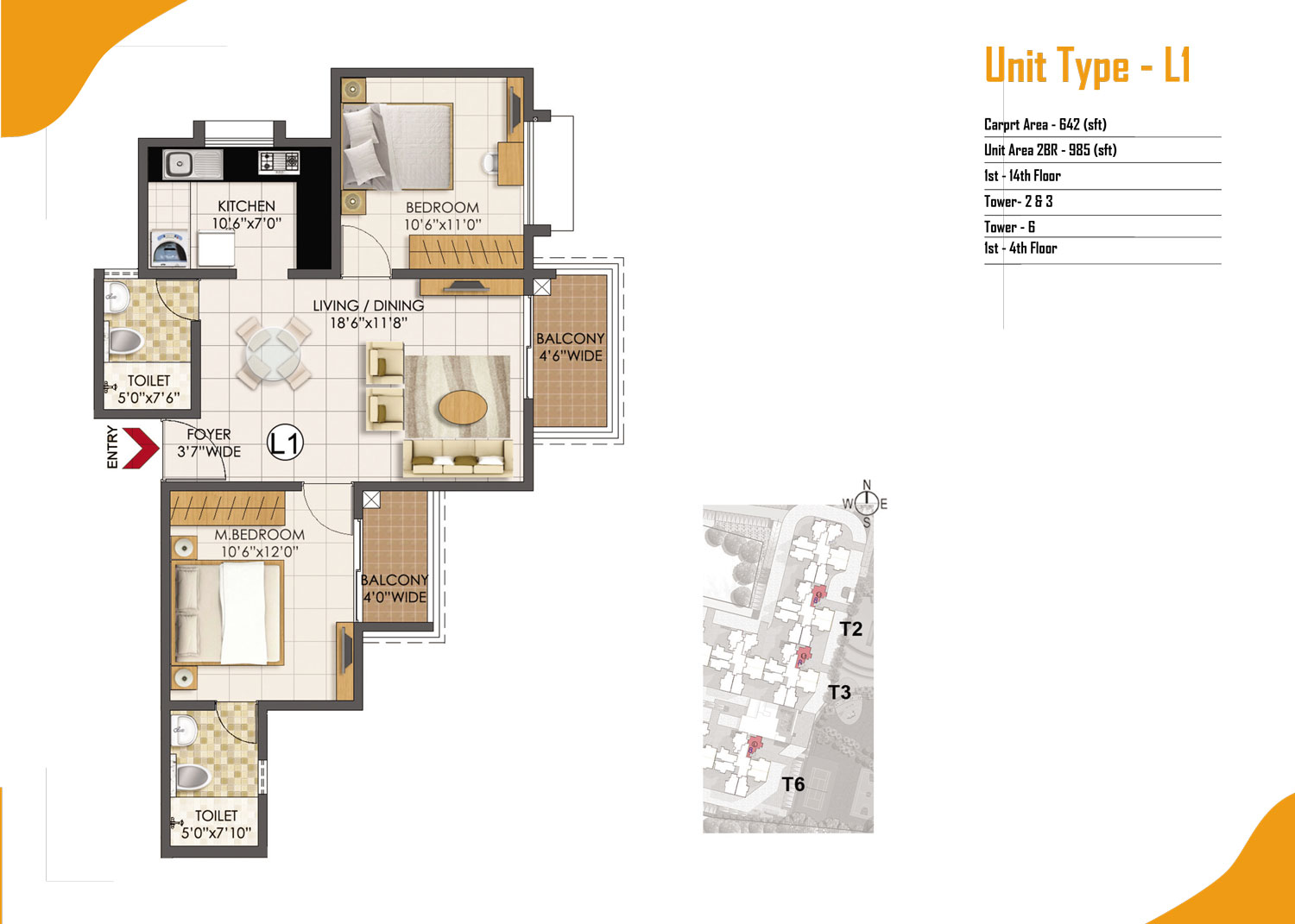 Type L1 - 2 Bed - 985 Sq Ft