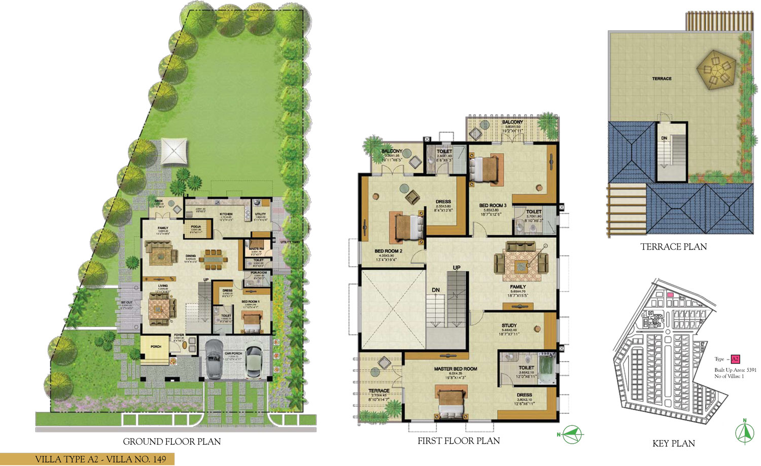 Type A2 - 4 Bed - 5391 Sq Ft