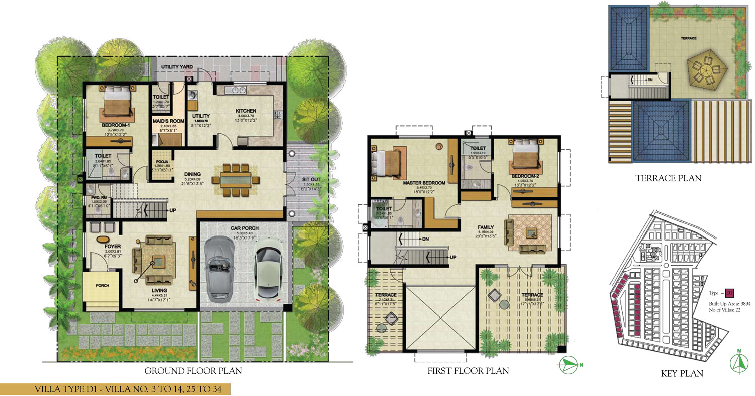 Type D1 - 3 Bed - 3834 Sq Ft