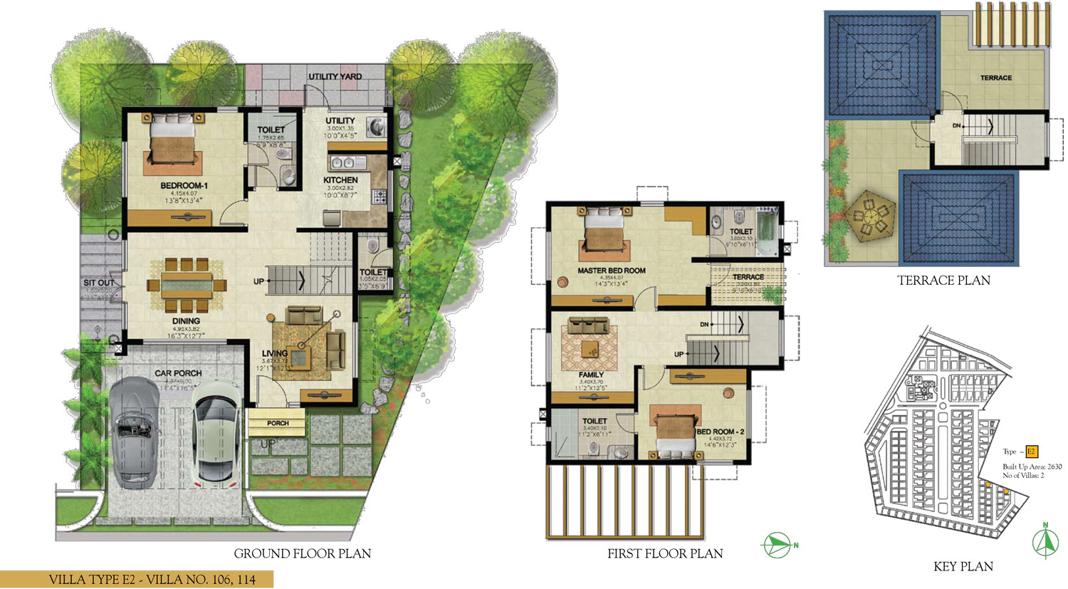 Type E2 - 3 Bed - 2630 Sq Ft
