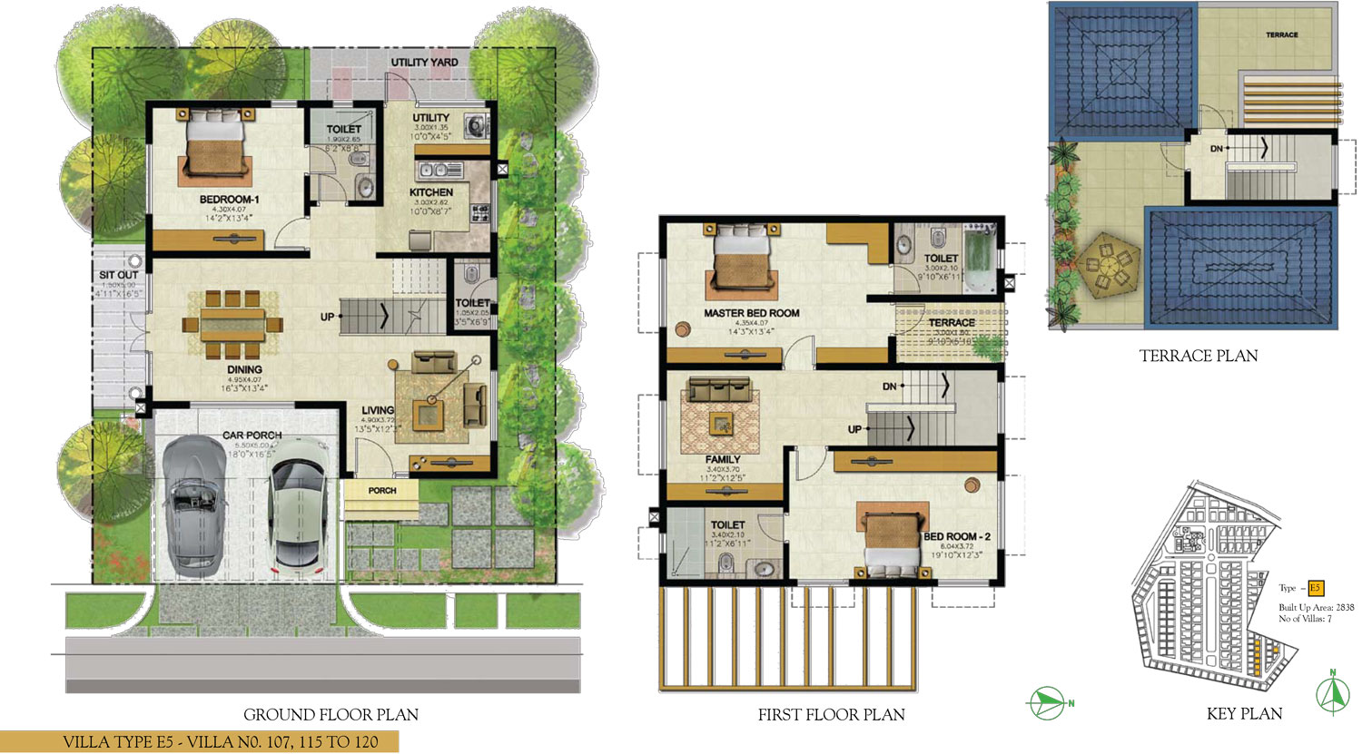 Type E5 - 3 Bed - 2838 Sq Ft