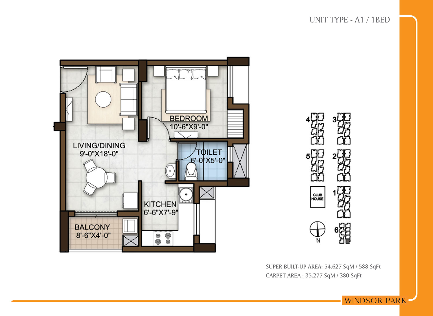 Type A1 - 588 Sq Ft