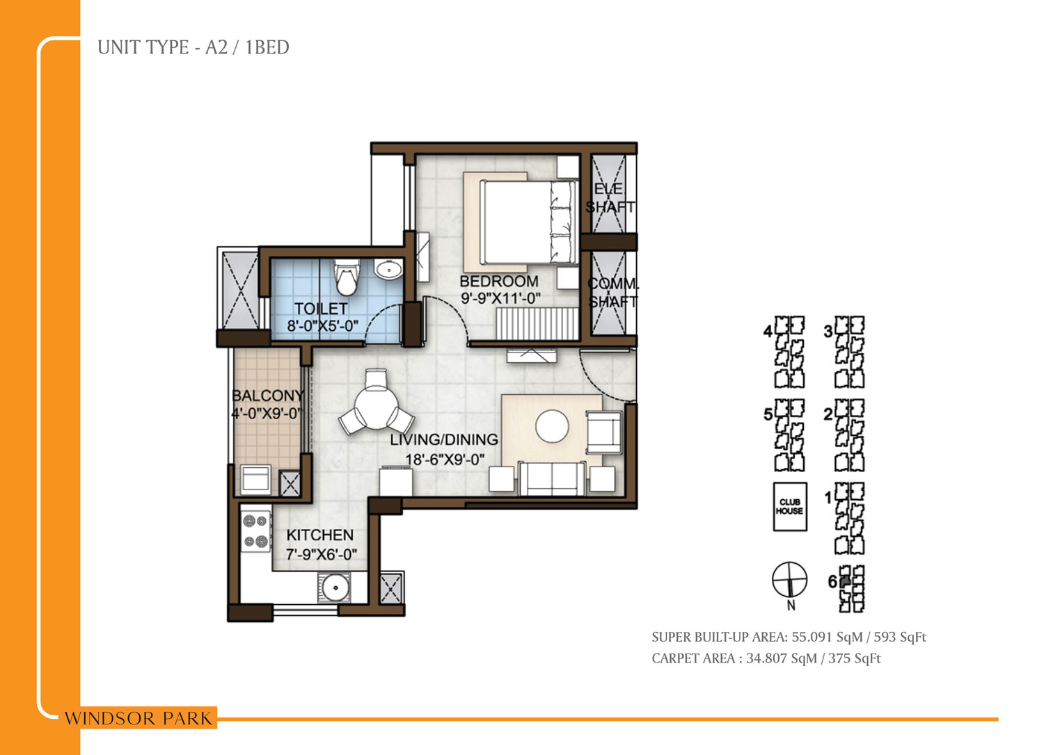 Type A2 - 593 Sq Ft