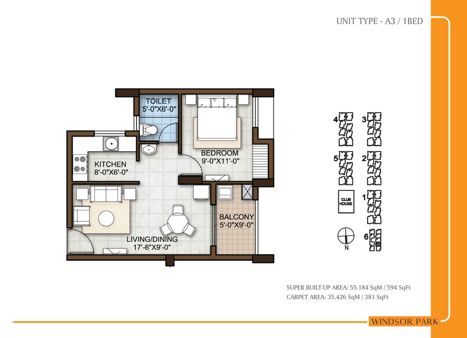 Type A3 - 594 Sq Ft