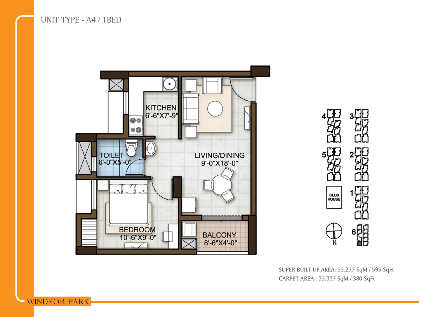 Type A4 - 595 Sq Ft